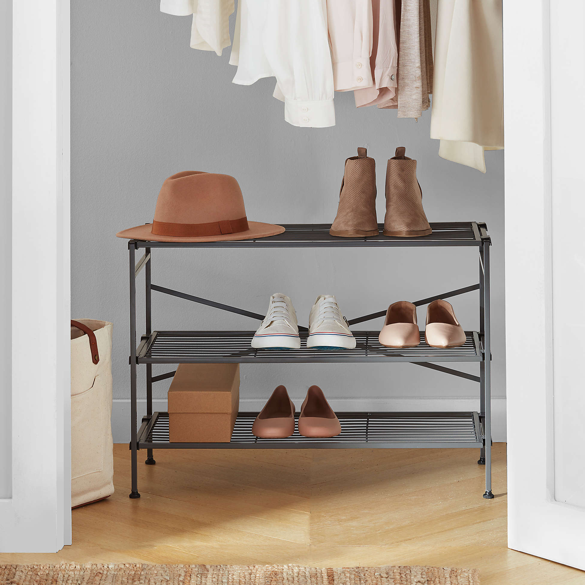 Squared Away Three-Tier Stackable Shoe Rack