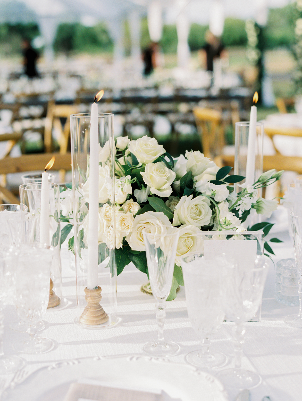 all white wedding centerpieces and china