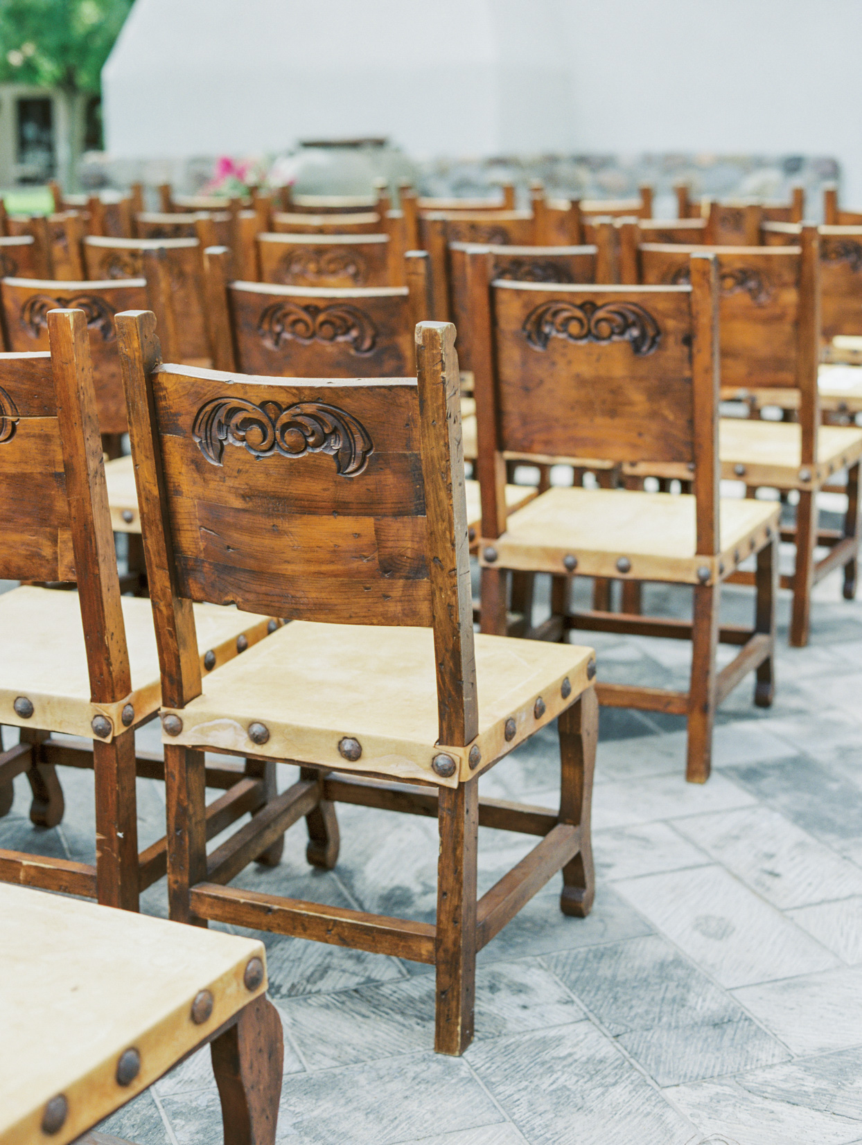 wooden wedding ceremony chairs lined