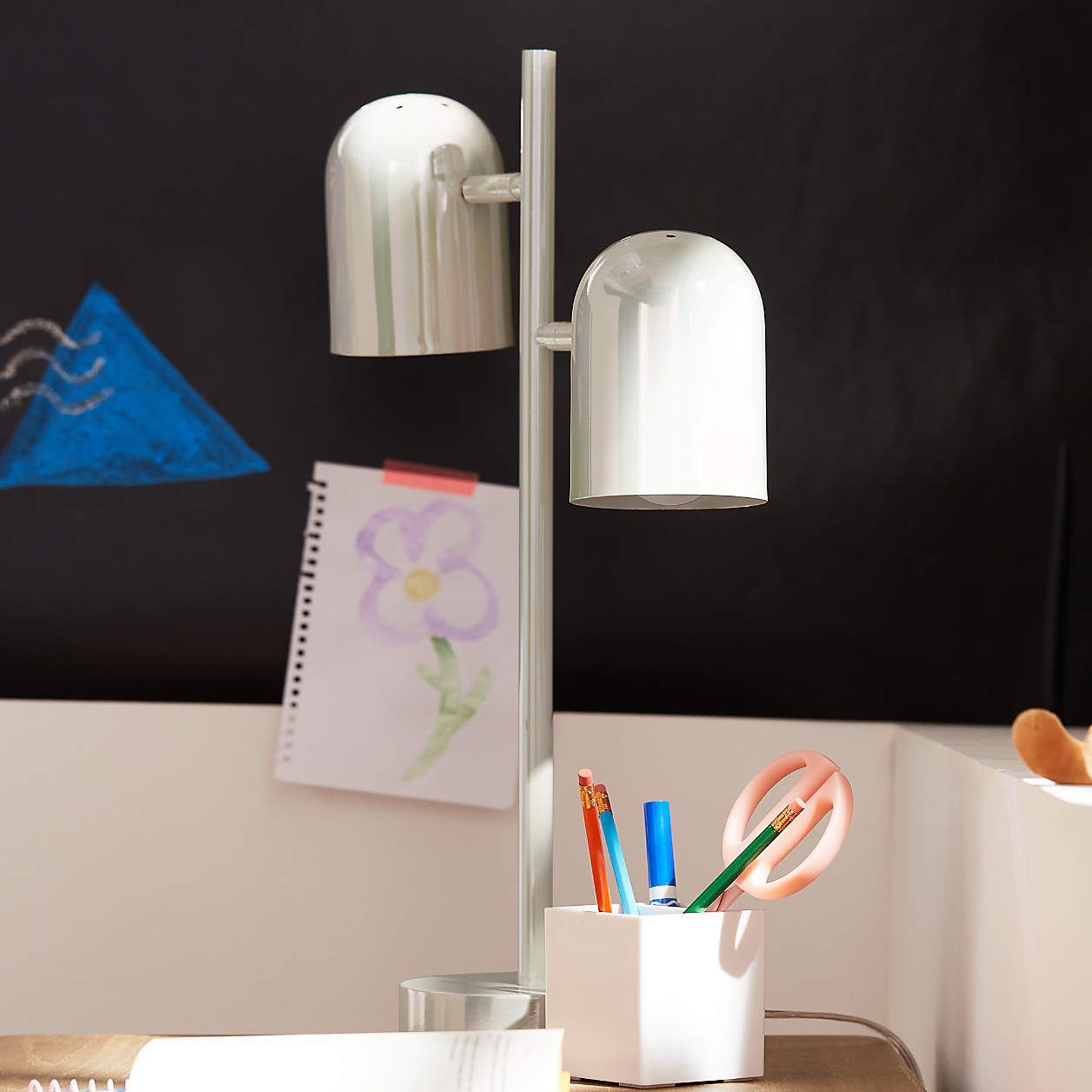 Crate & Kids White Iridescent Touch Table Lamp