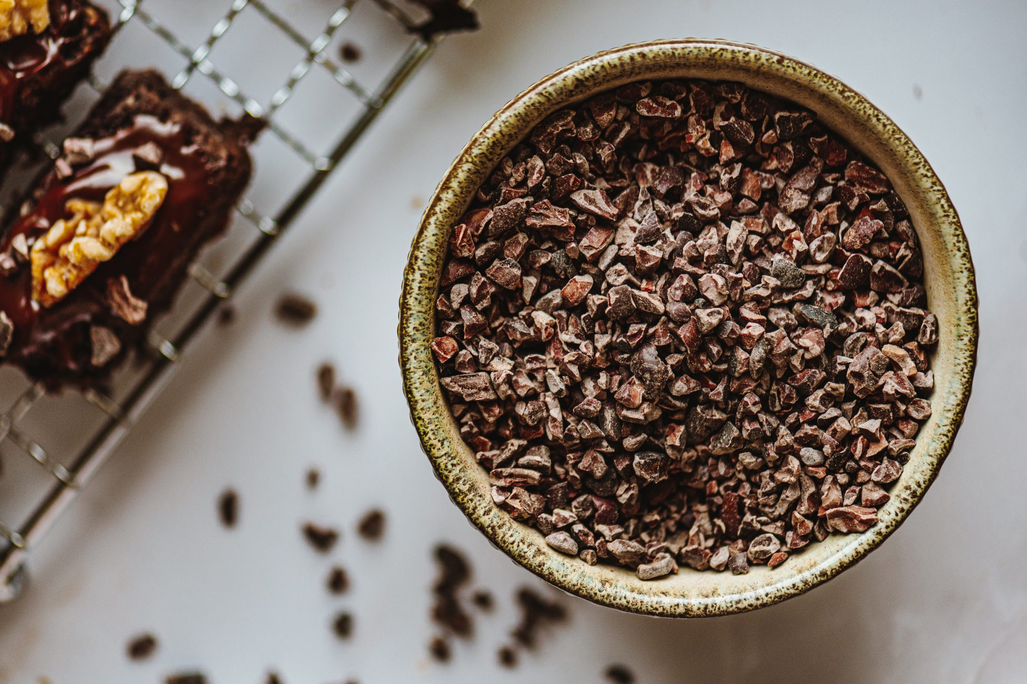 cacao nibs in bowl on counter