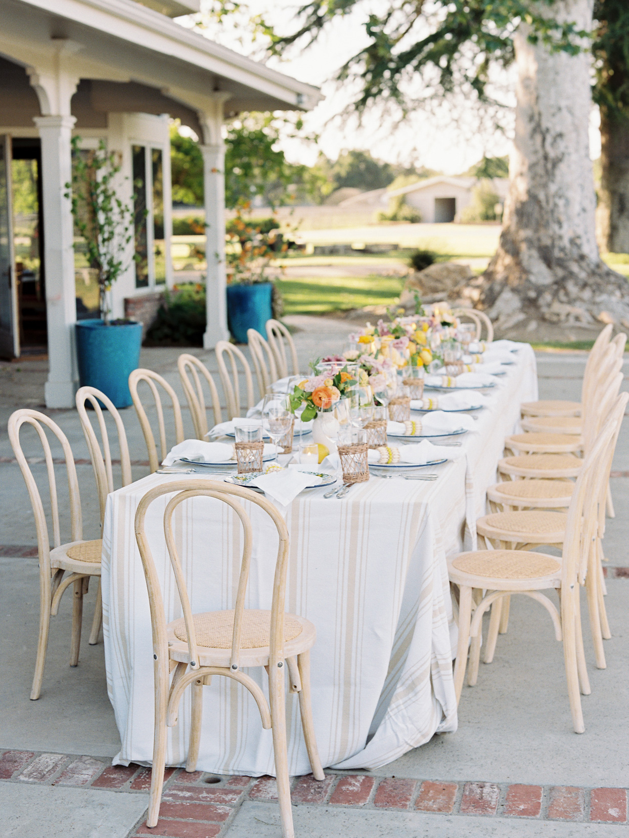 white and tan striped linen covered table