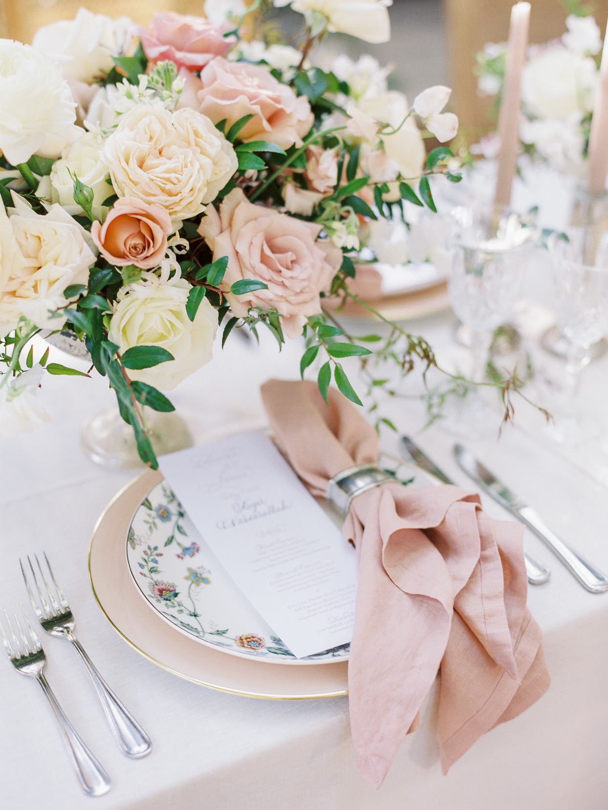 white and blush place settings