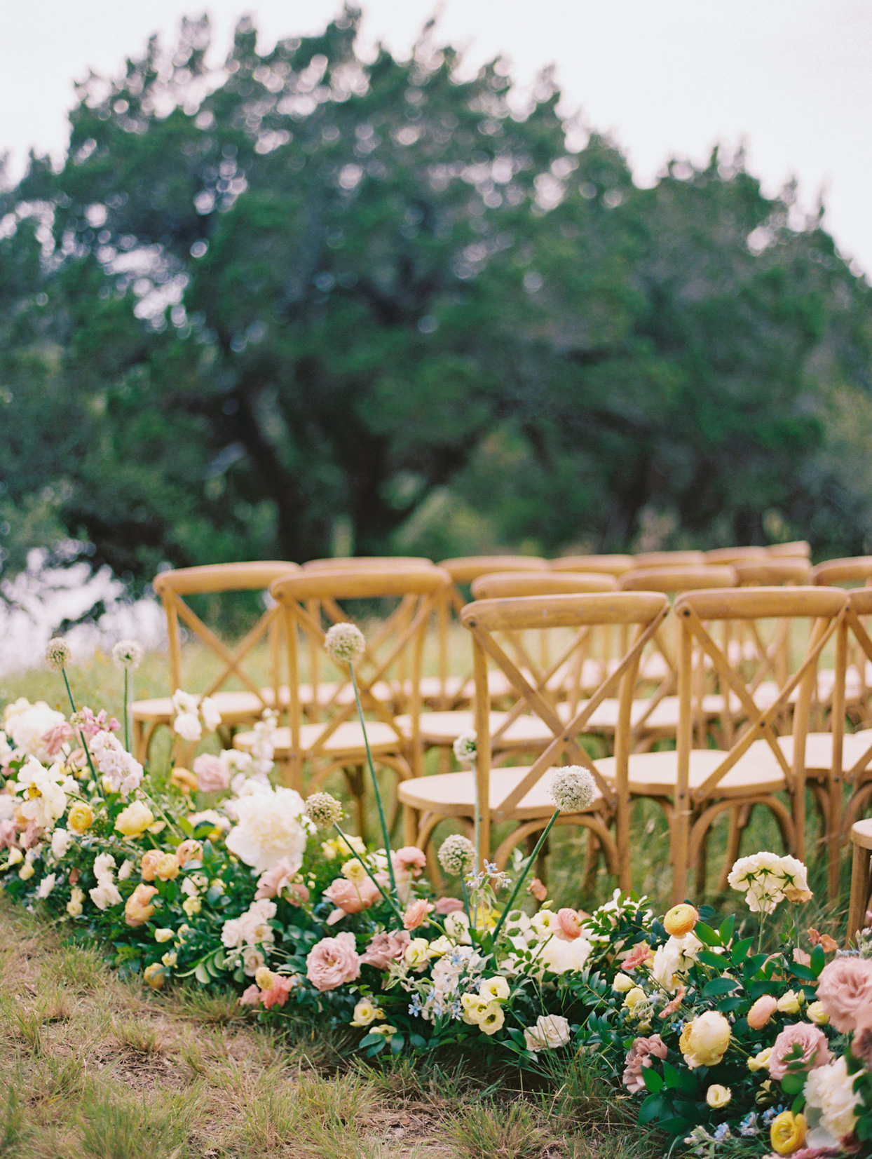 floral lined wedding ceremony aisle