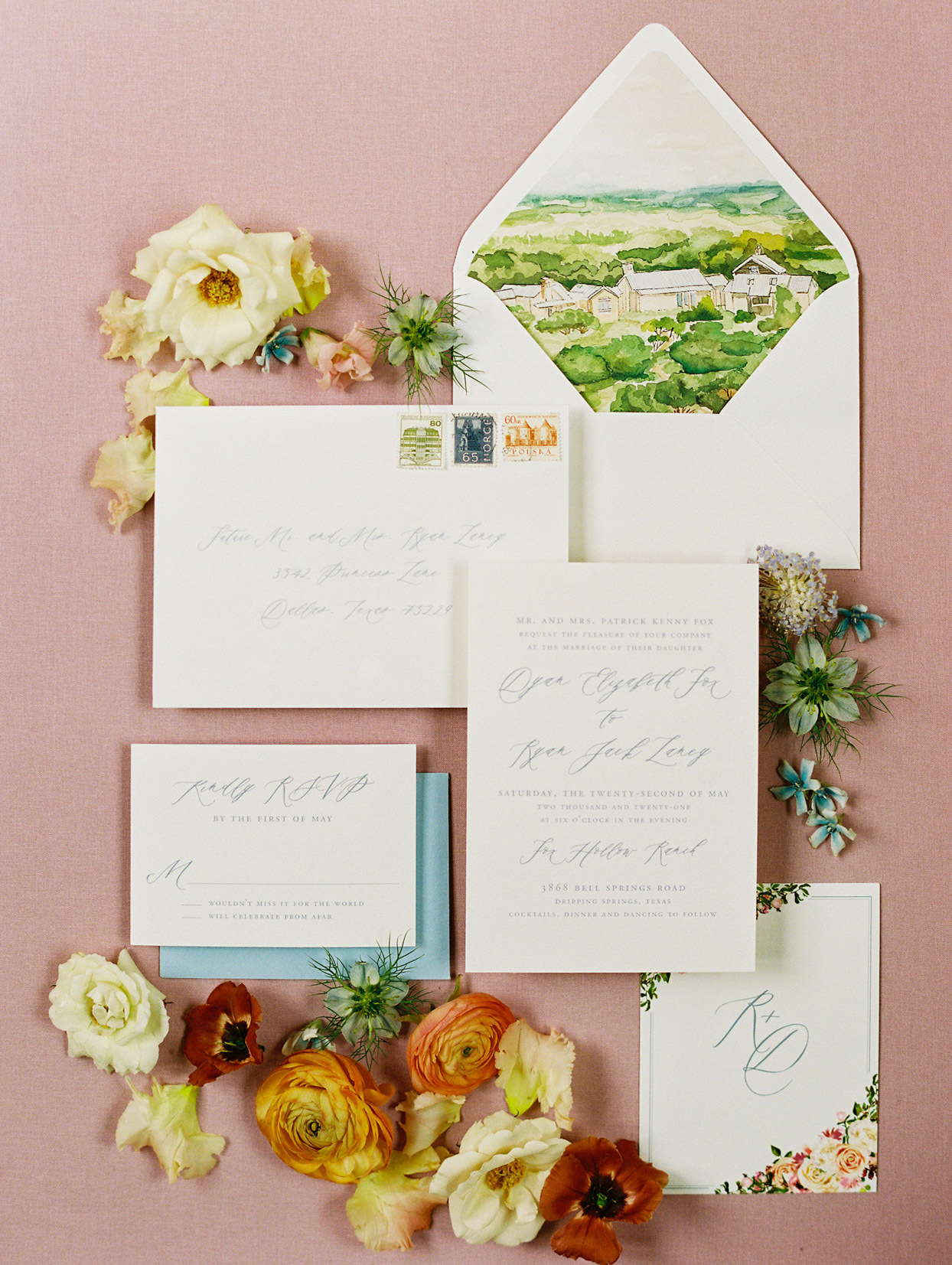 water color countryside design wedding invites