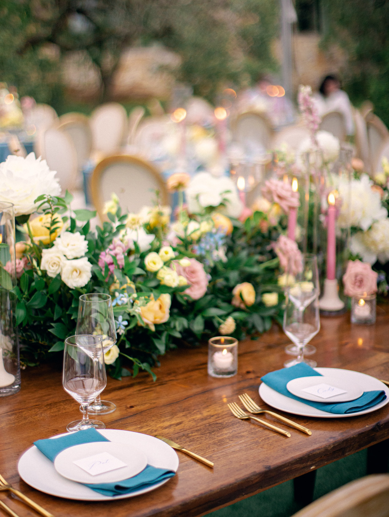 blue pink and yellow table setting