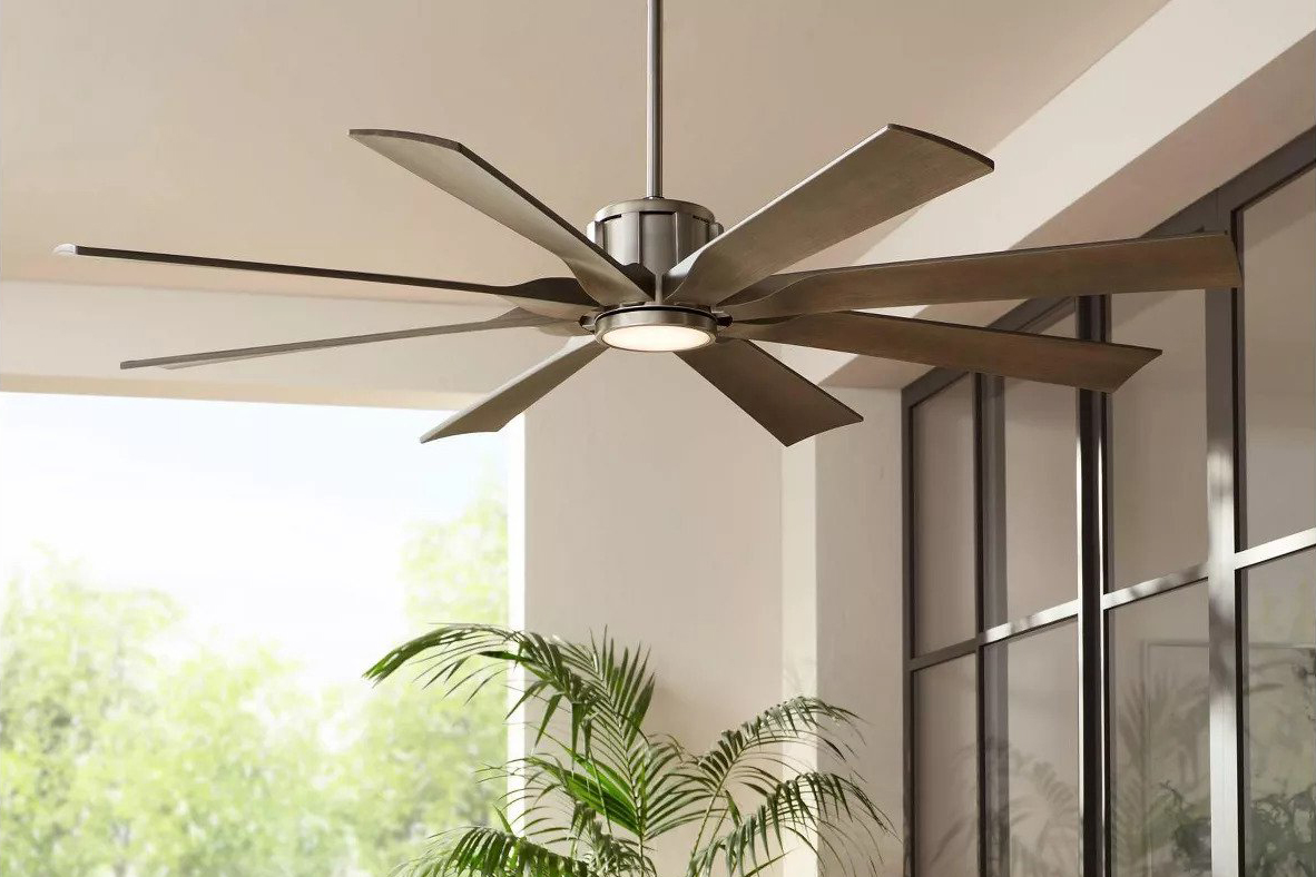 Possini Euro Design Damp Rated Porch Fan in Nickel Wood with LED Light