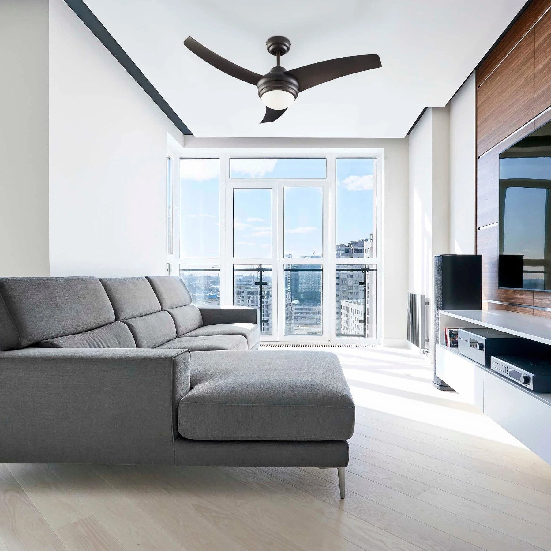 Contemporary 42-Inch Ceiling Fan with Dimmable LED Light