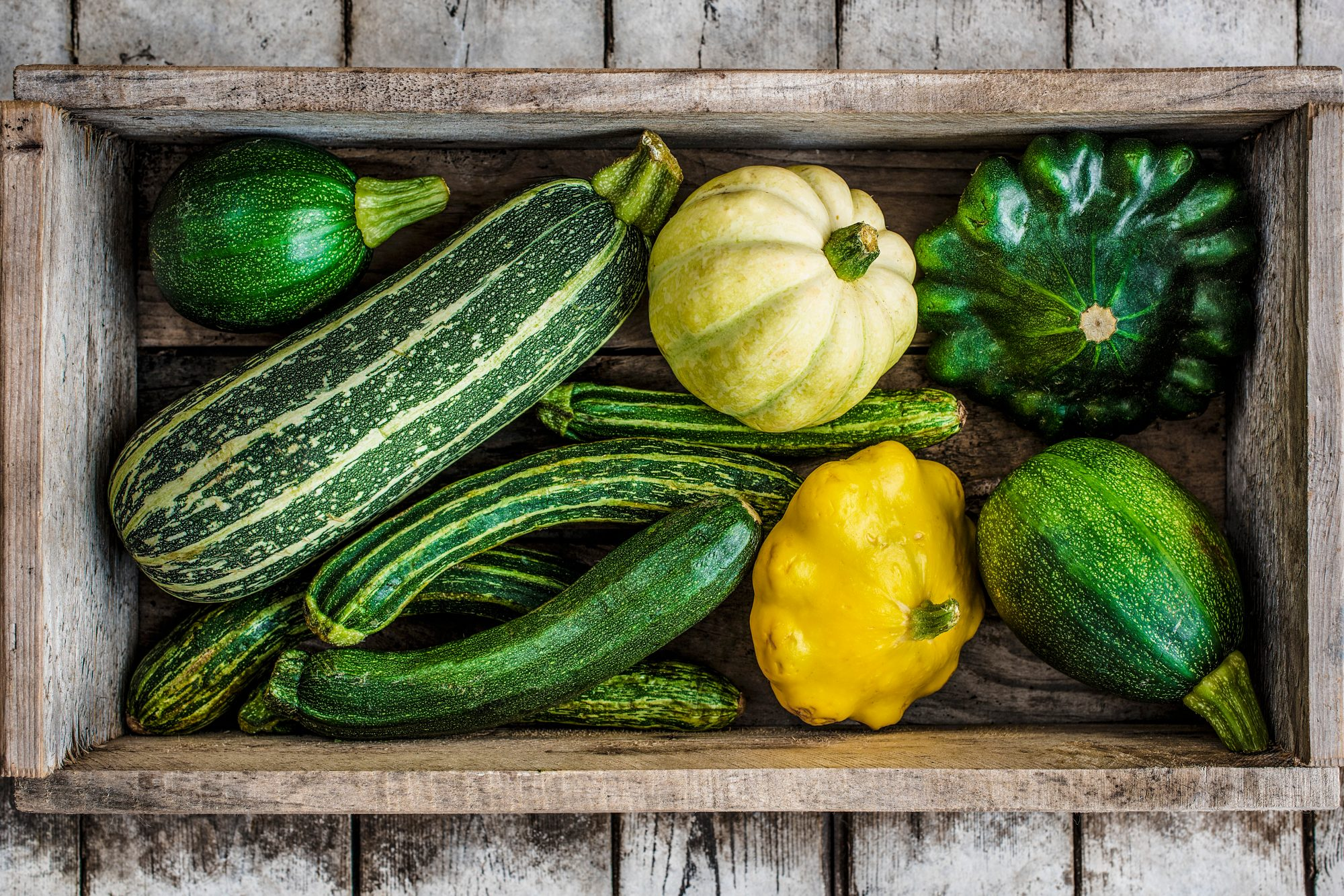 Different types of courgettes view from above