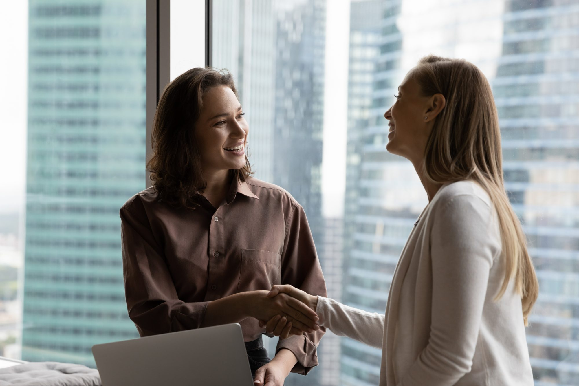 Smiling two business women shaking hands making agreement.