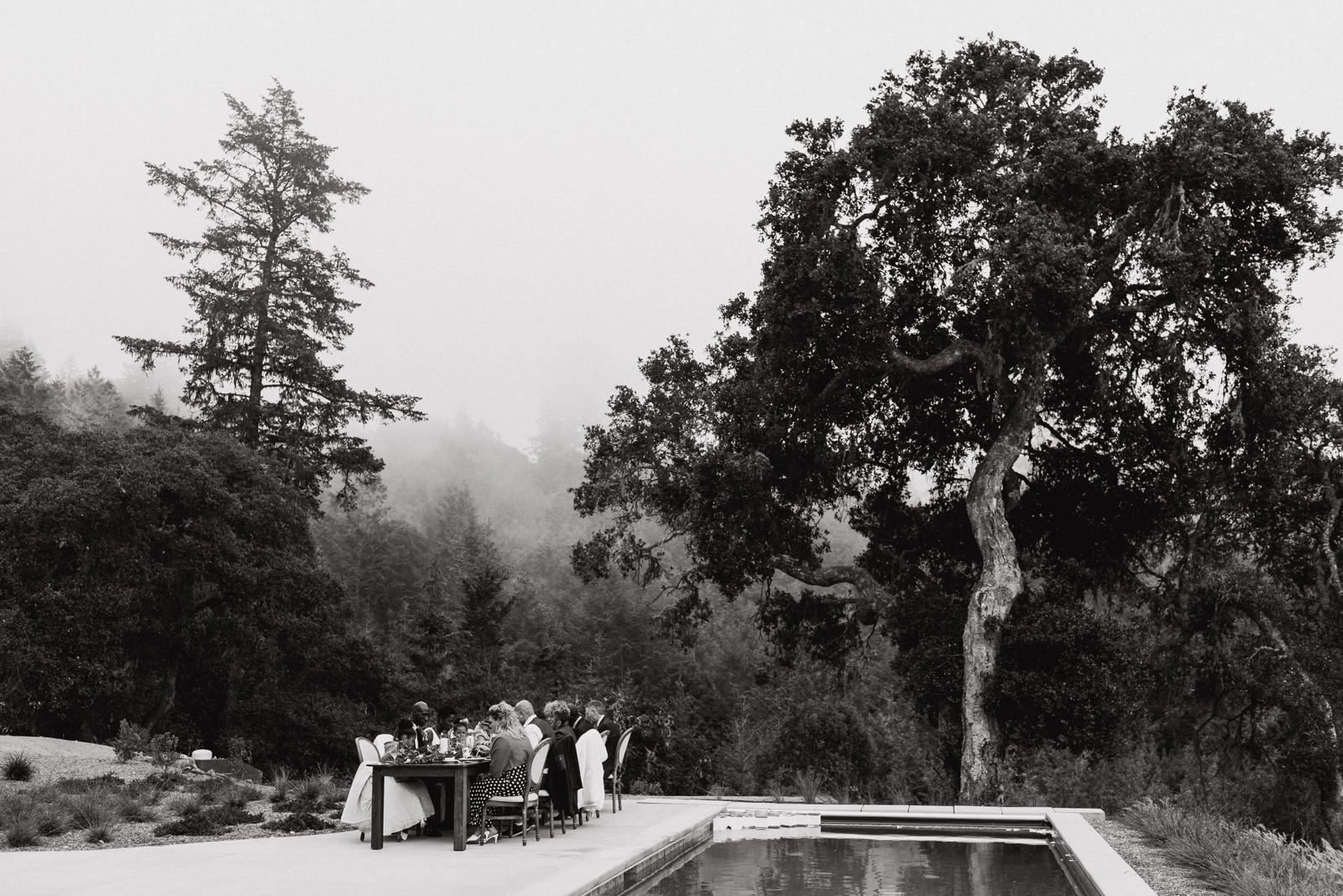 guests sitting at table by pool for outdoor wedding dinner