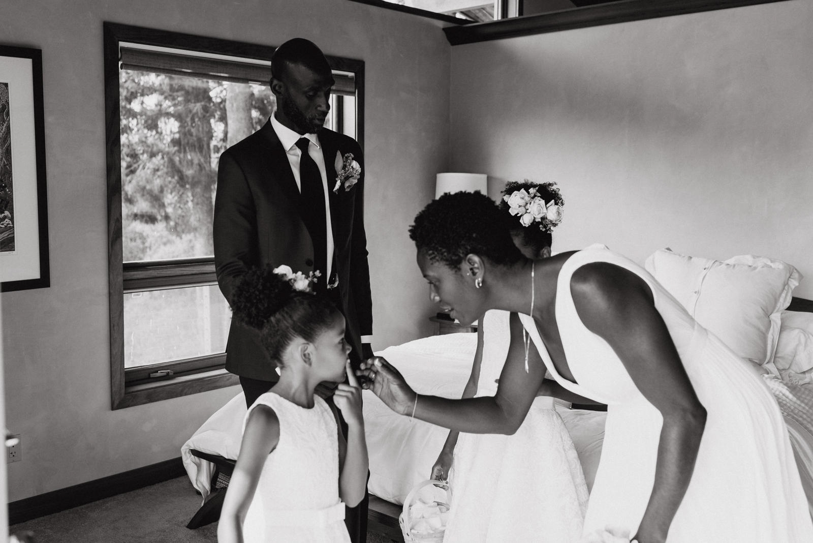 family getting ready for wedding indoors