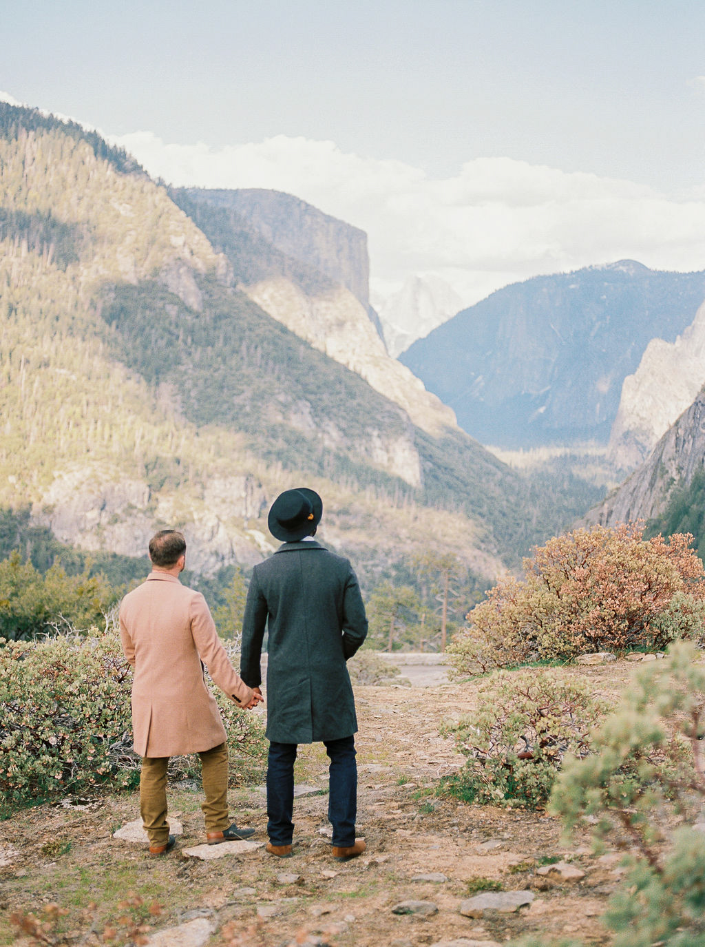 grooms holding hands looking toward mountains