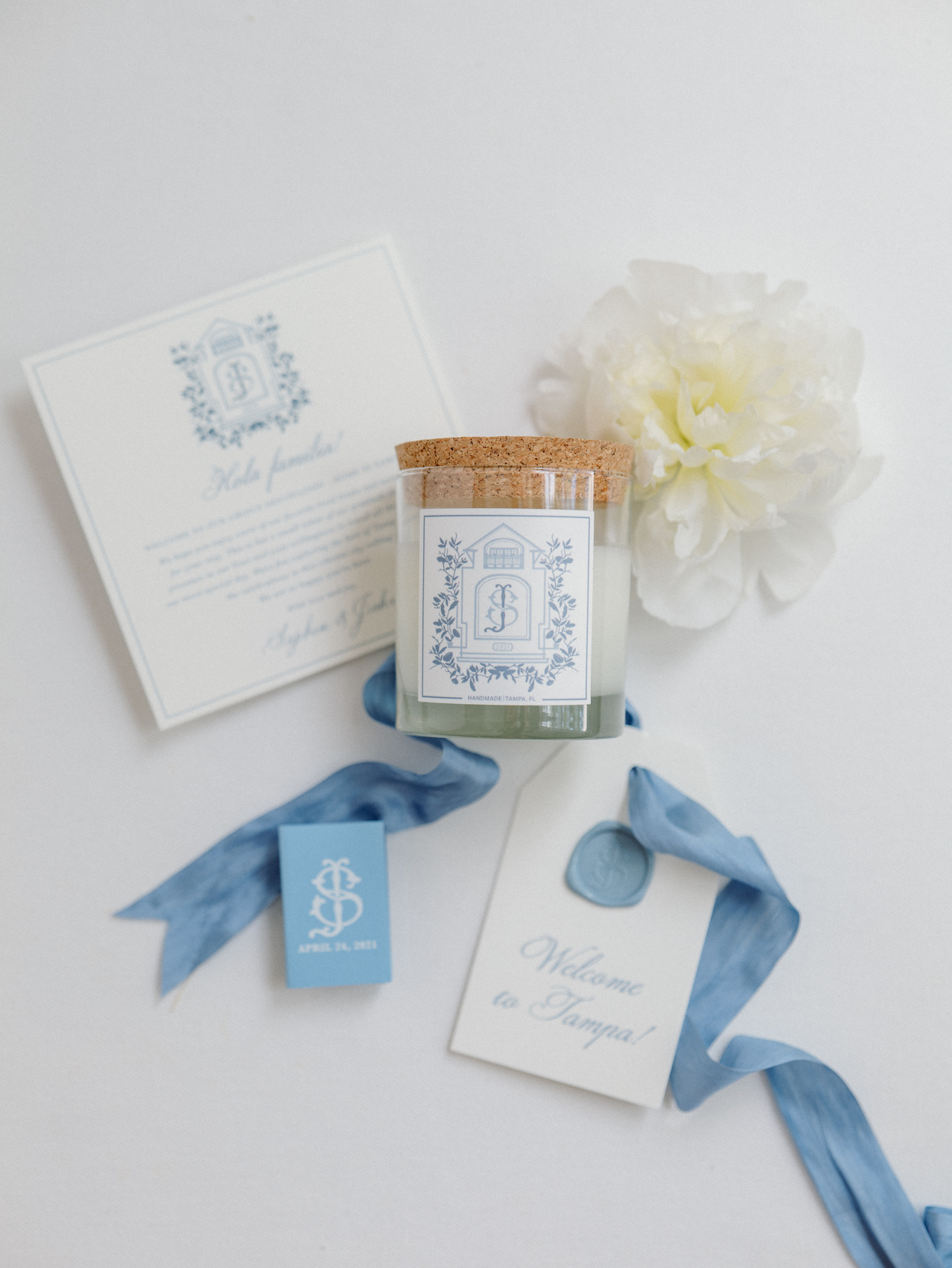 blue and white decal wedding candle favor