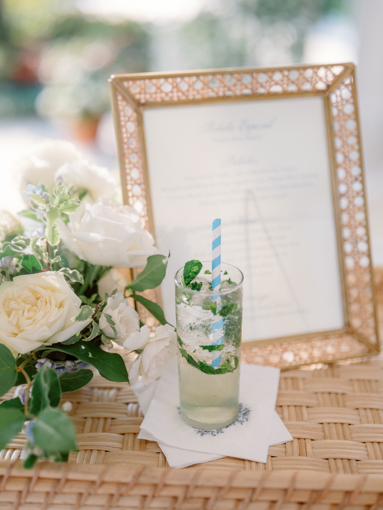 wedding cocktail with crushed mint
