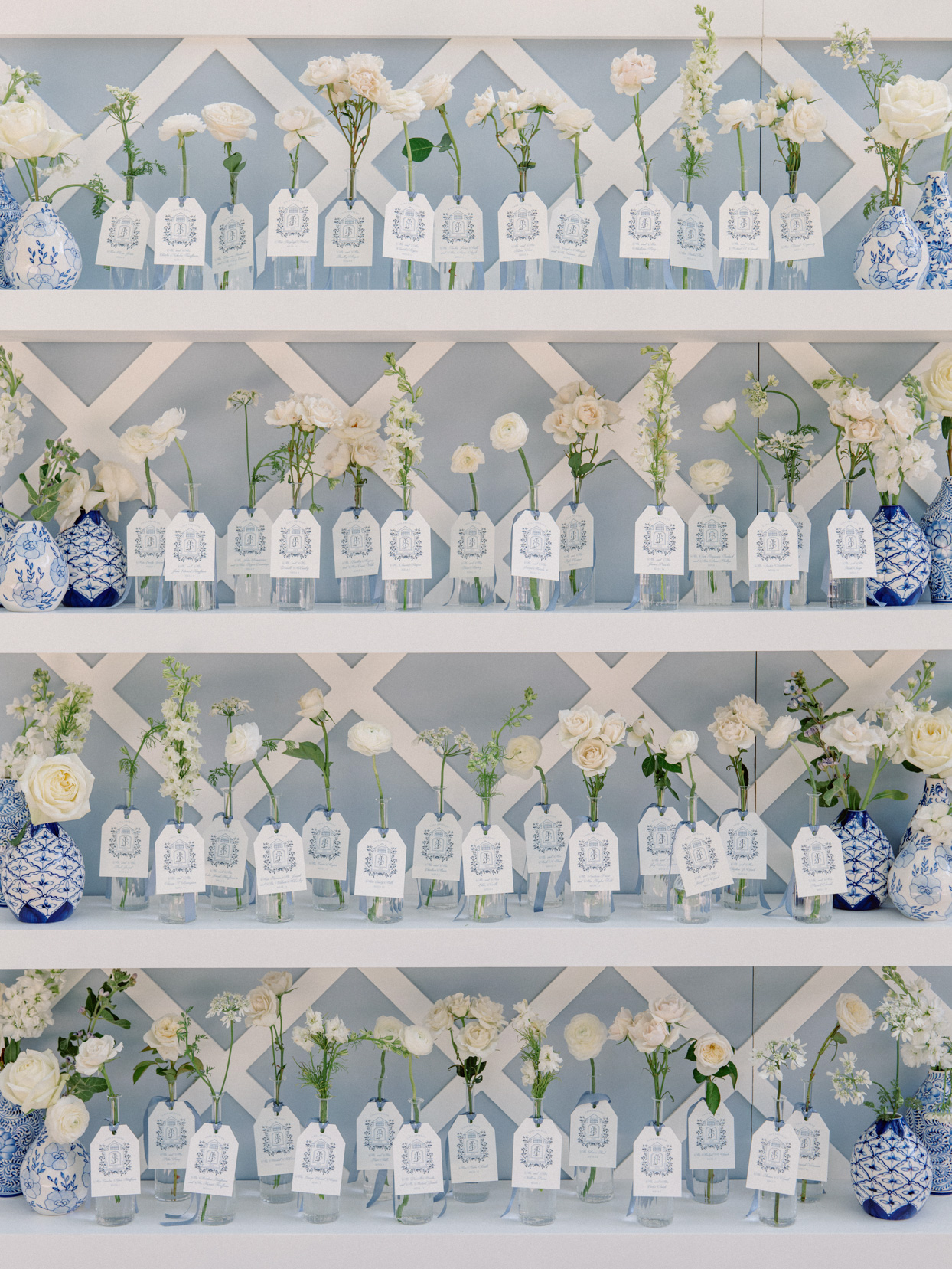white floral escort display cards