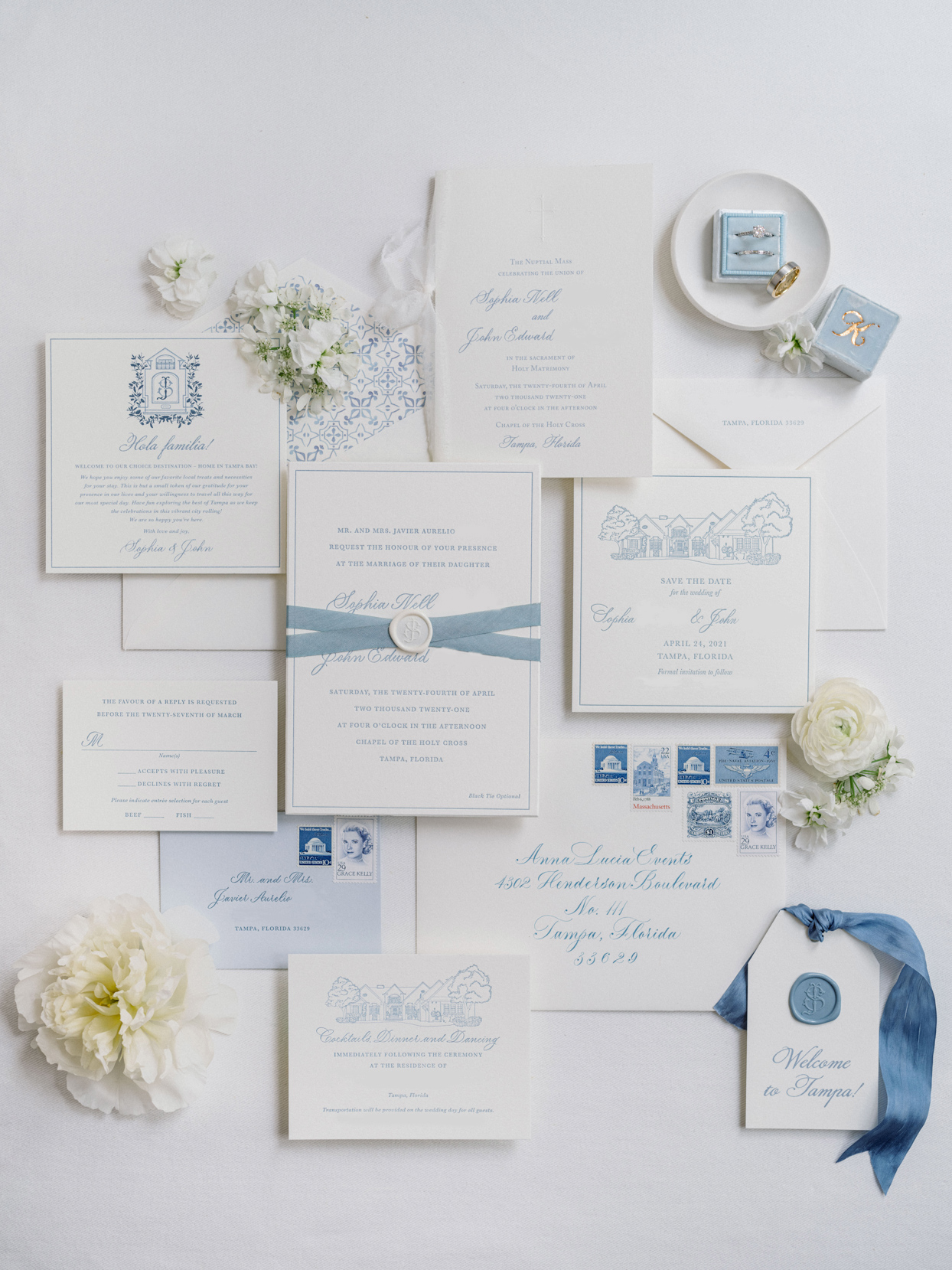 blue and white wedding invitation suite