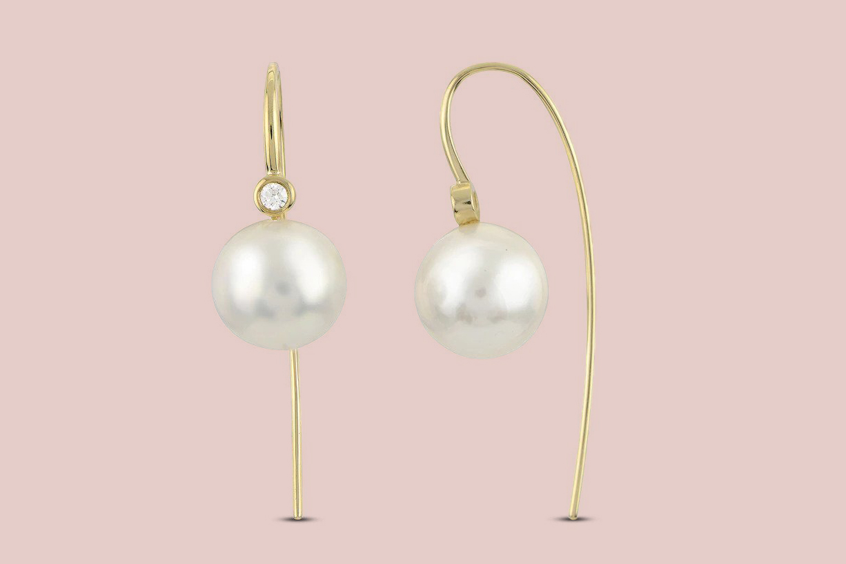Cultured Freshwater Pearl Threader Earrings 14K Yellow Gold