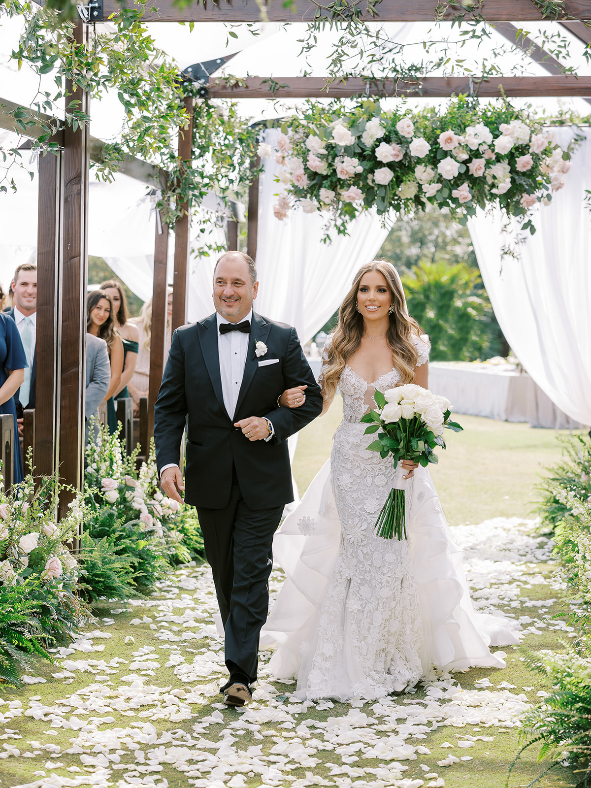 bride and father processing at outdoor wedding ceremony