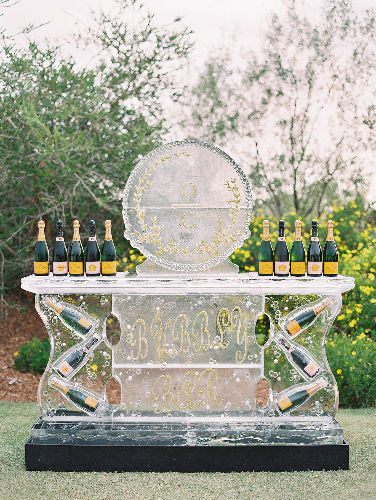 bubbly ice sculpture at wedding