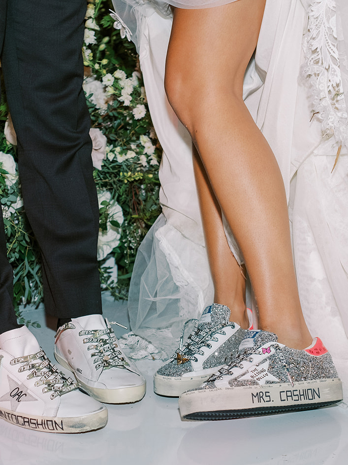 bride and grooms custom shiny sneakers