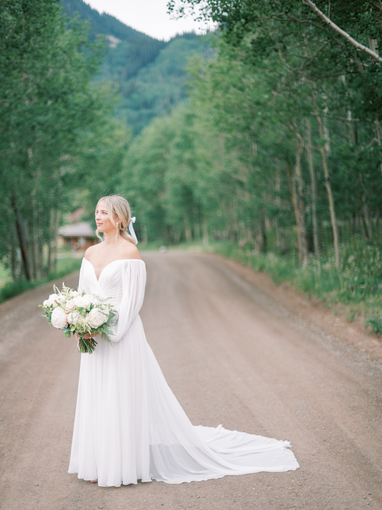 off-the-shoulder wedding dresss with silk chiffon with billowing sleeves