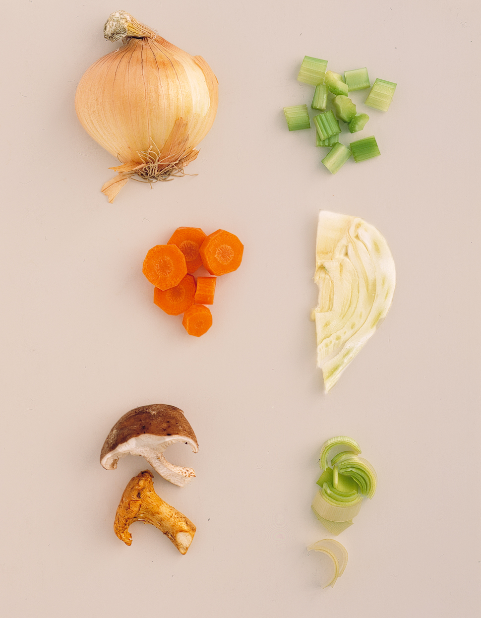 vegetables for stuffing laid out