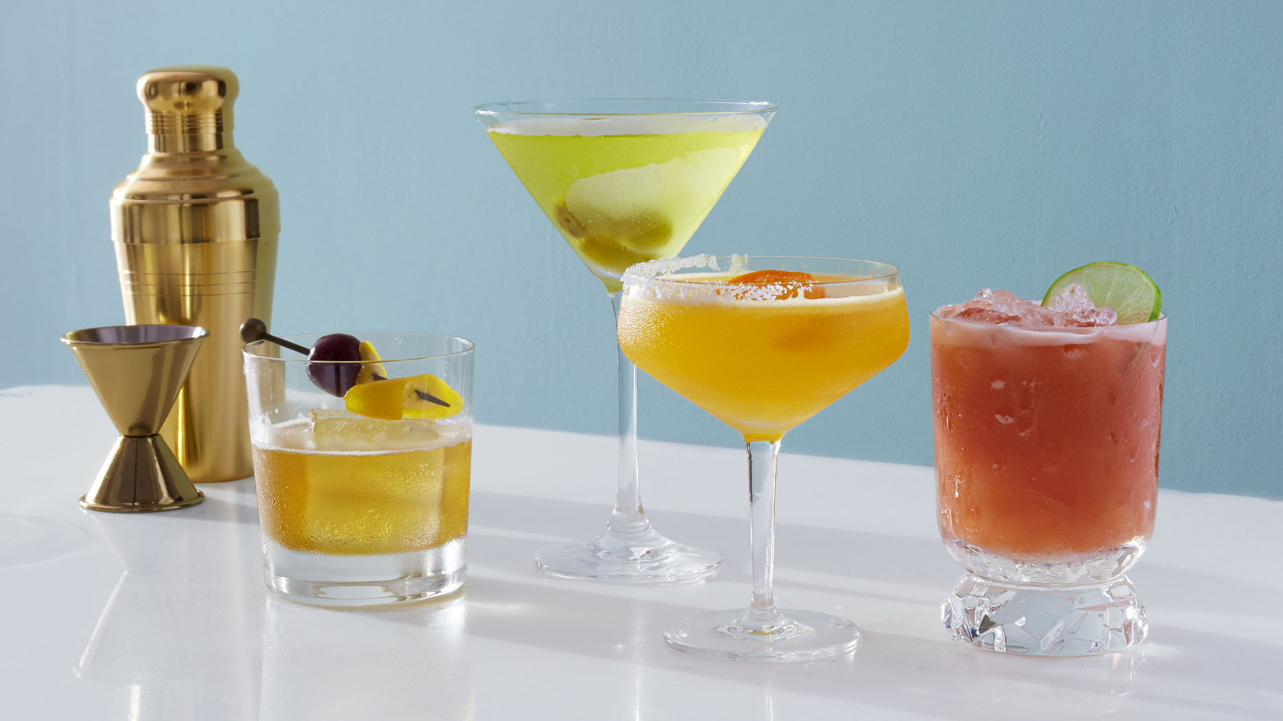 variety of cocktails on marble surface