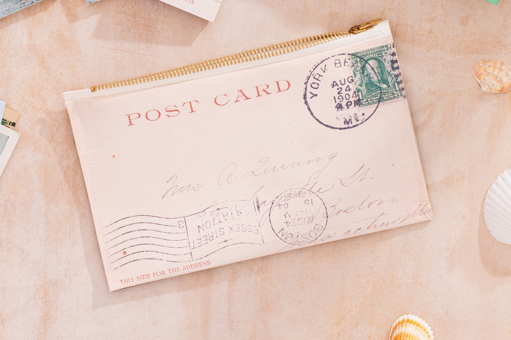 upcycled vintage postcard canvas pouch