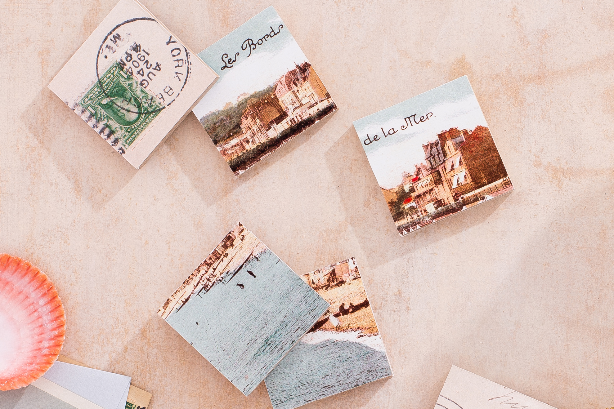 upcycled vintage postcard wood puzzle pieces