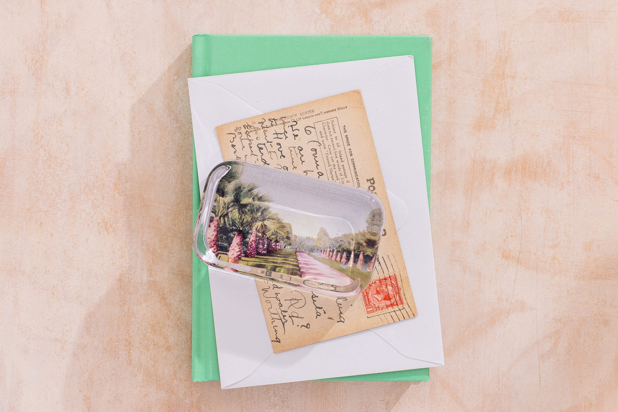upcycled vintage postcard glass paperweight