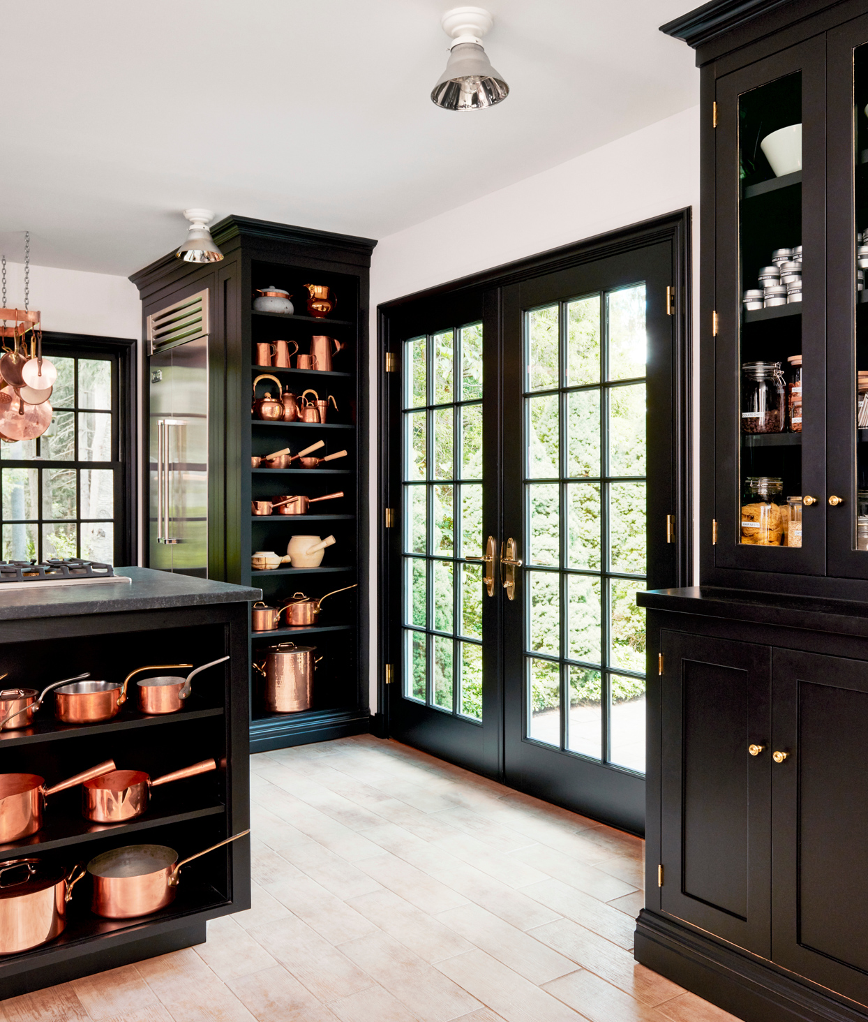 black pella french doors from kitchen to back porch