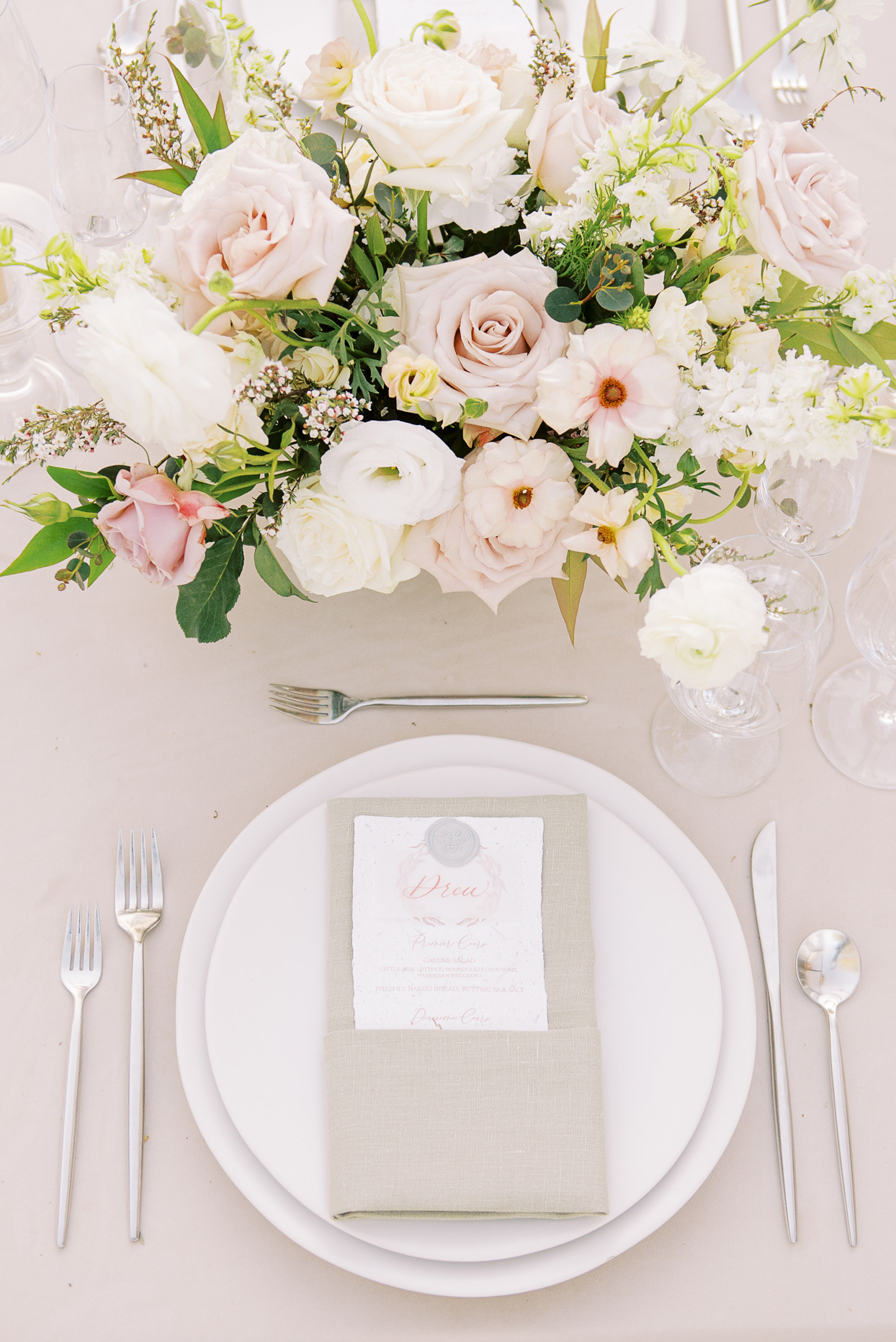 reception dinner table setting with natural colors