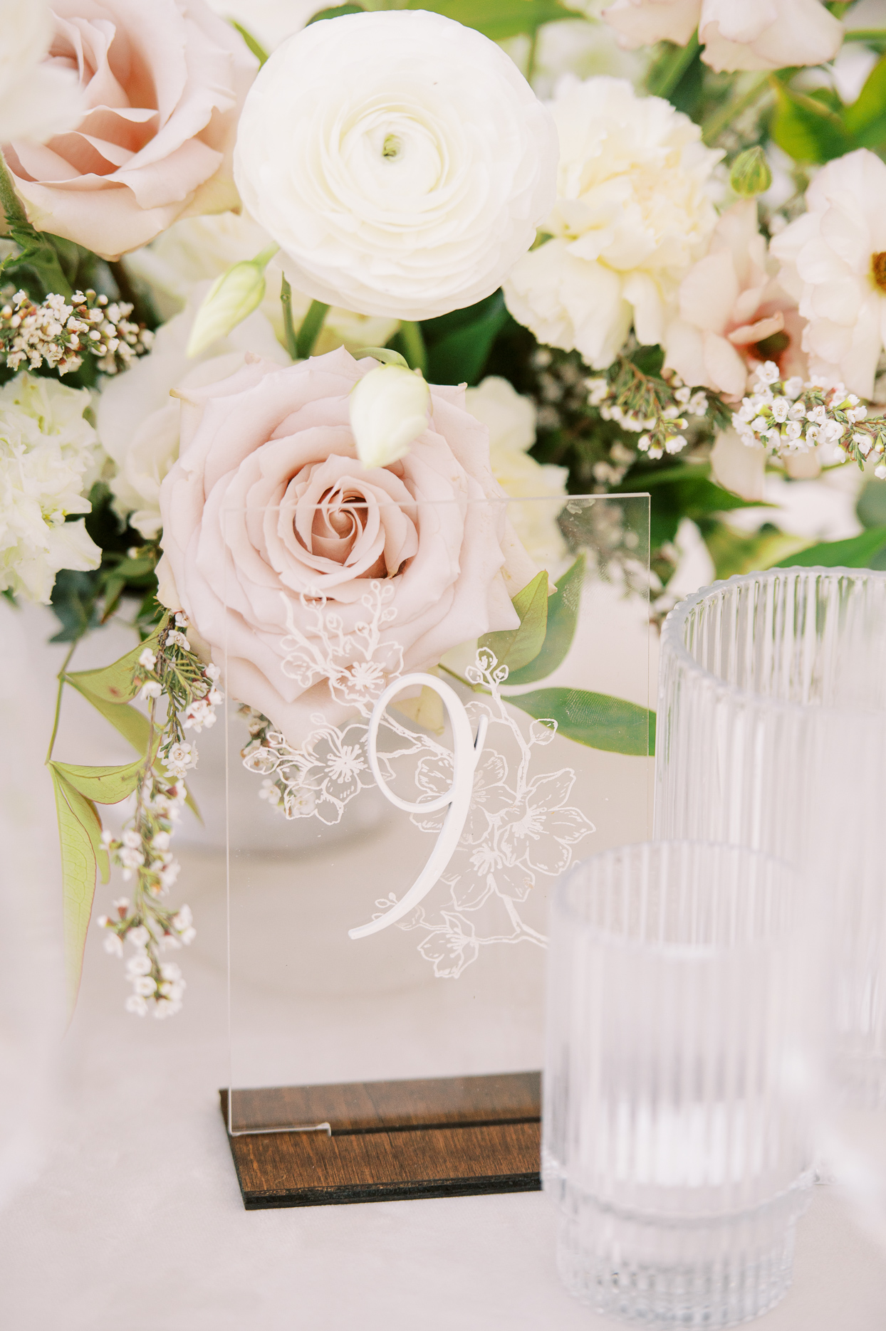 clear acrylic floral table numbers