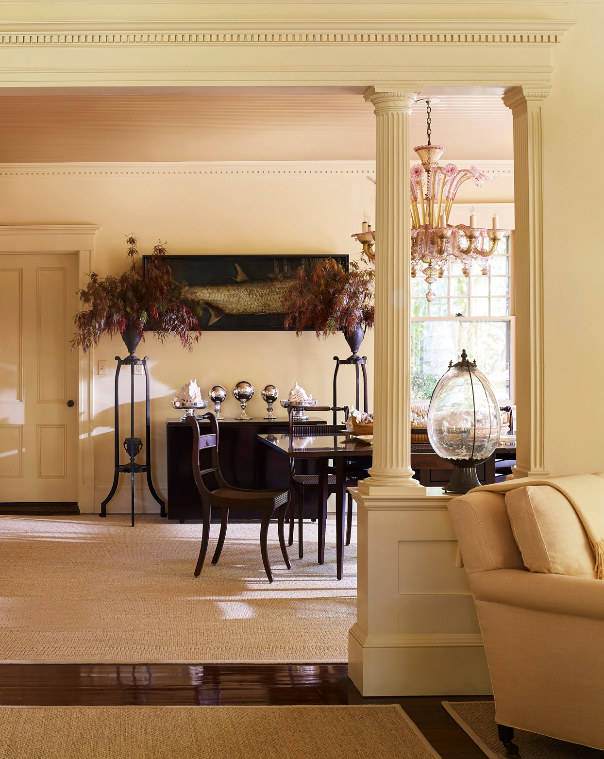 dining room with pink-and-yellow venetian-glass chandelier