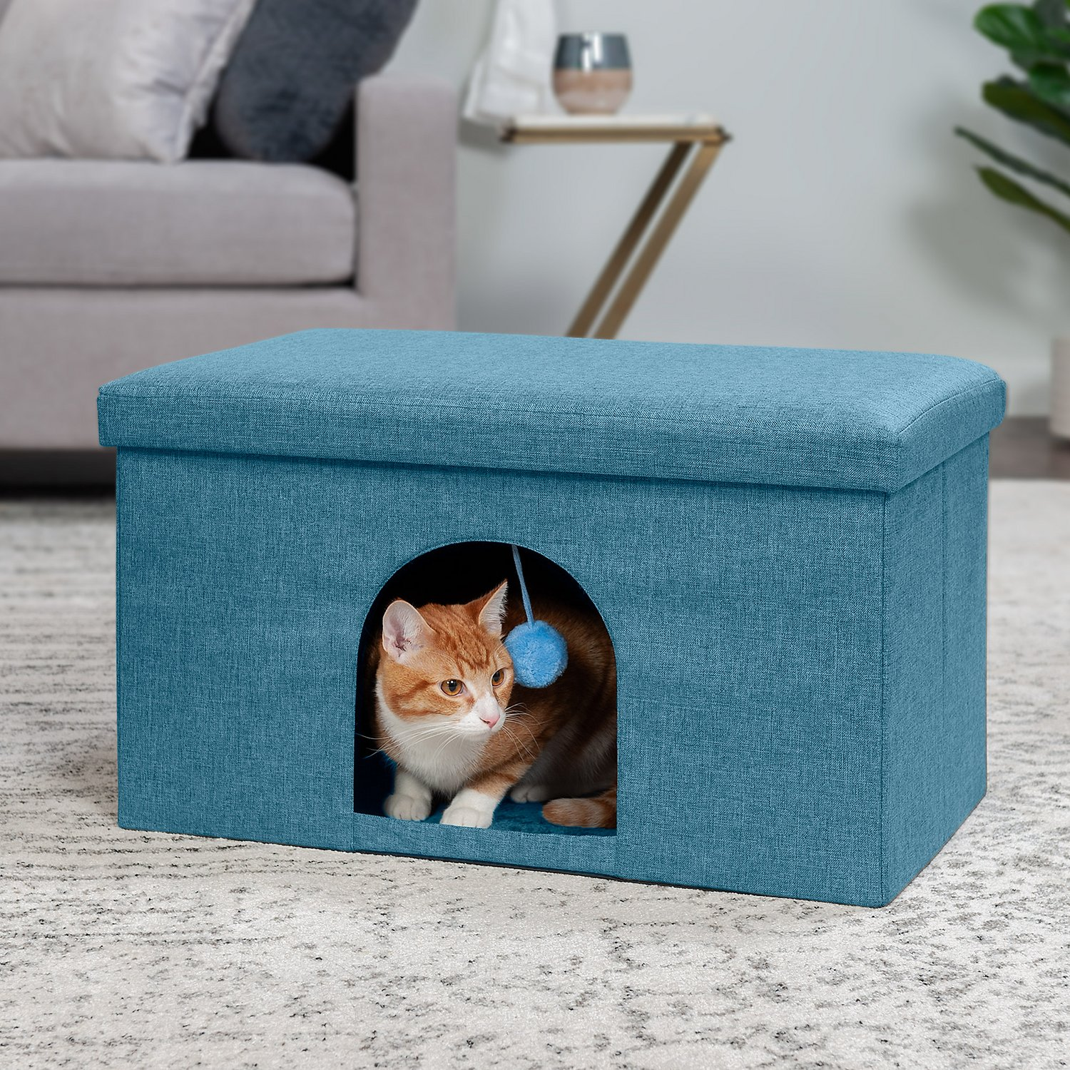 FurHaven House Footstool & Ottoman Dog & Cat Bed