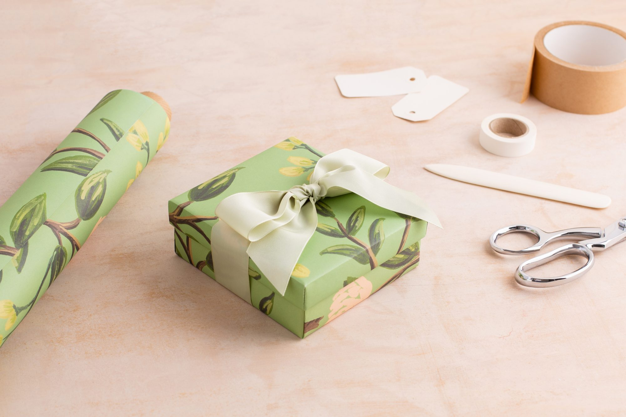 wrapping gift box with wrapping paper