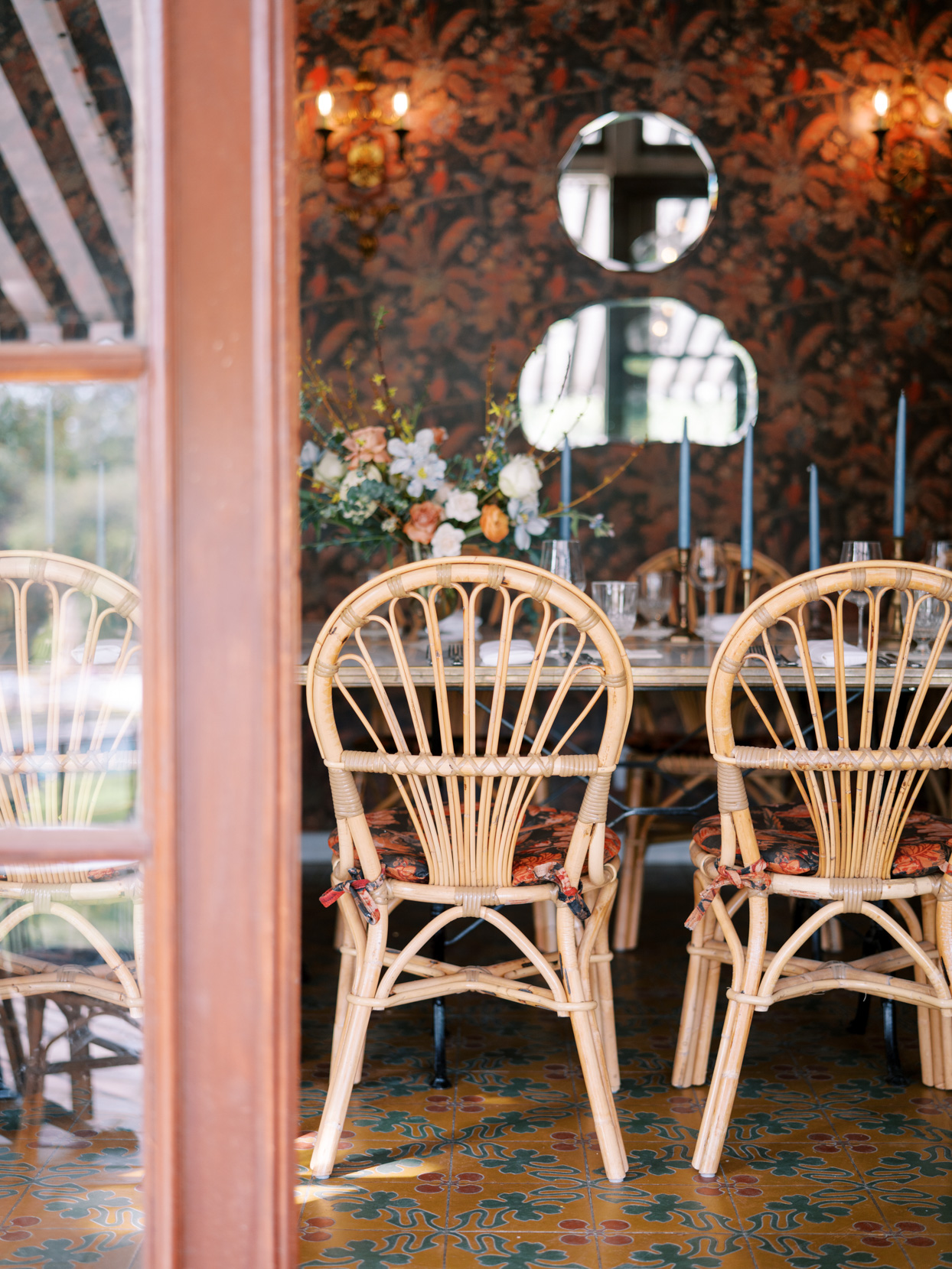 eclectic dining room for wedding reception