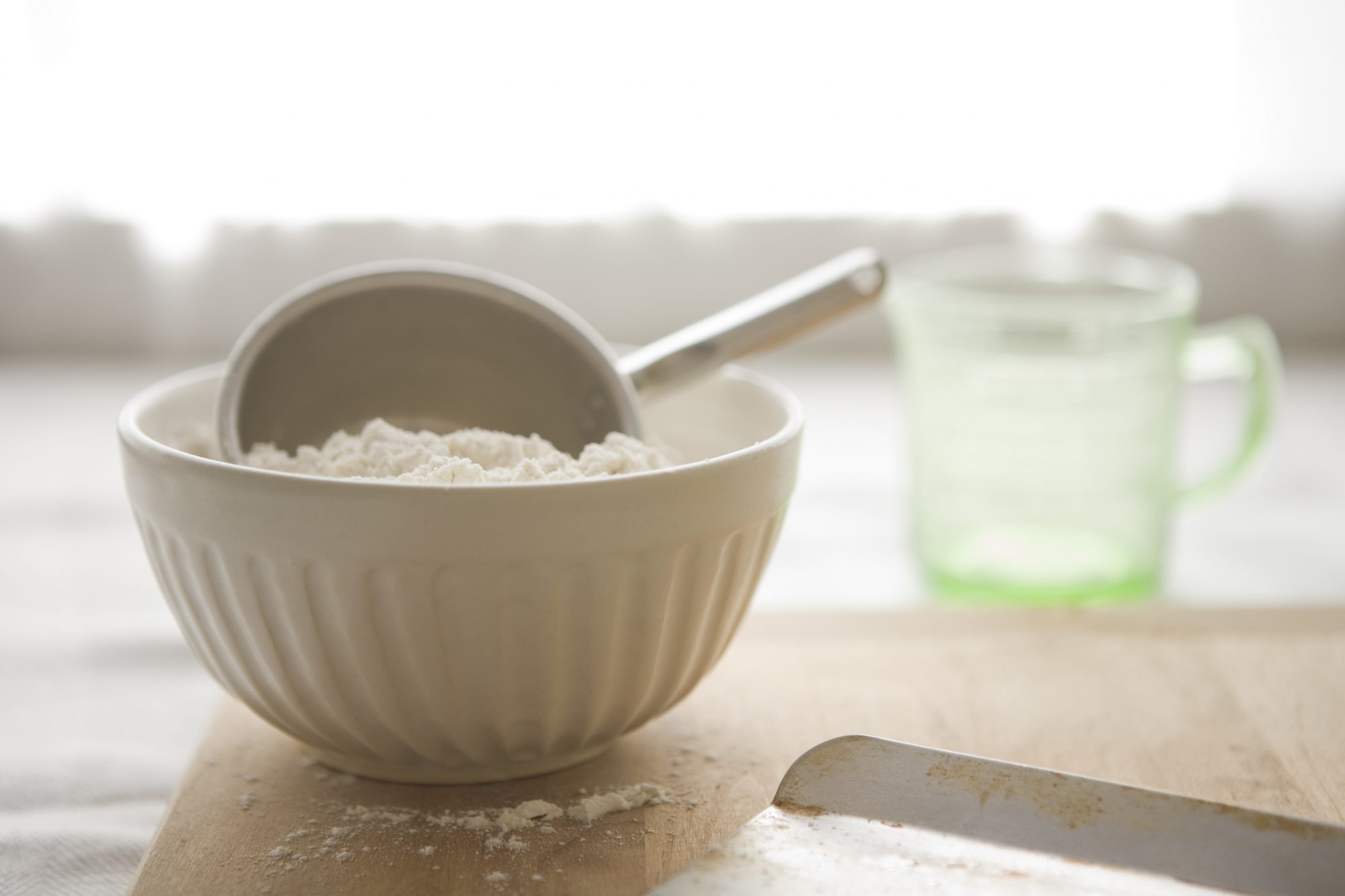 small bowl of flour on counter