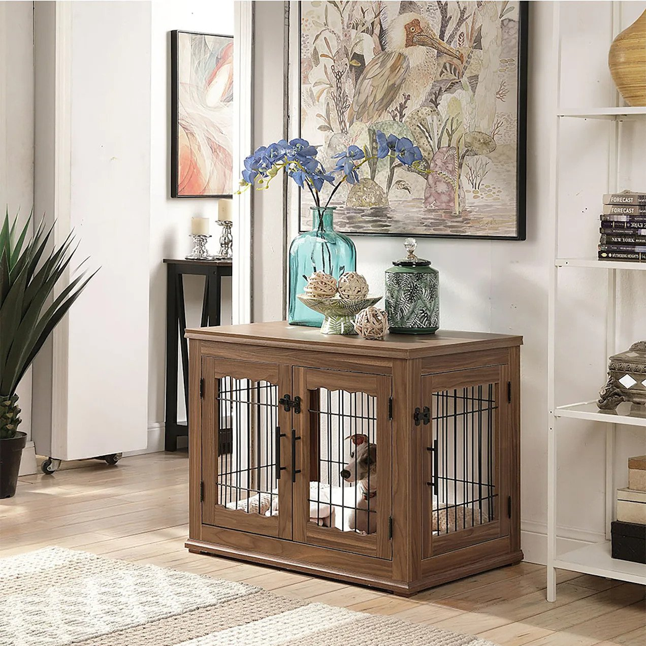 UniPaws Crate Wooden End Table with Wire Dog Kennel with Bed in Walnut