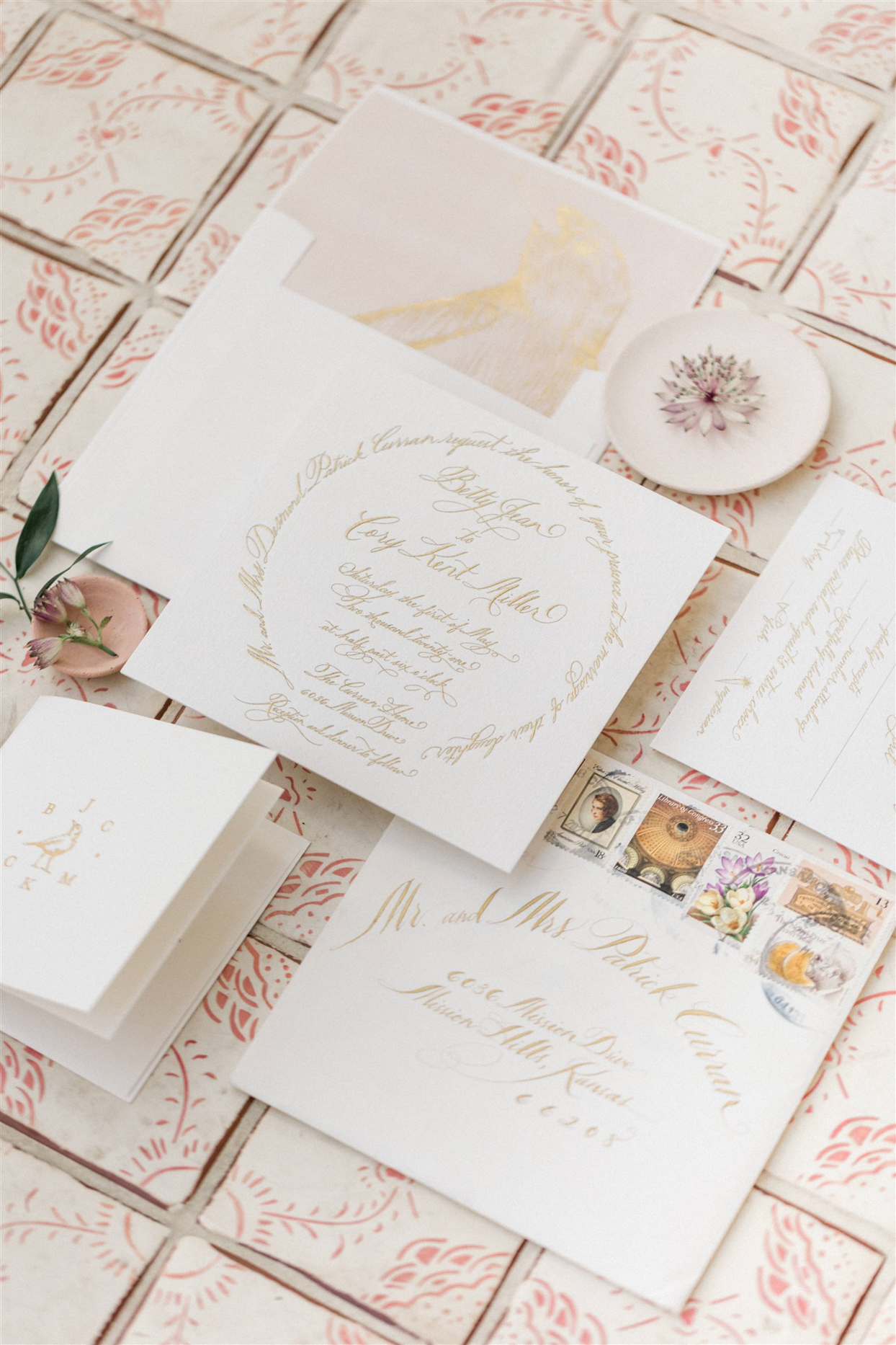 formal wedding invitation suite with gold foil