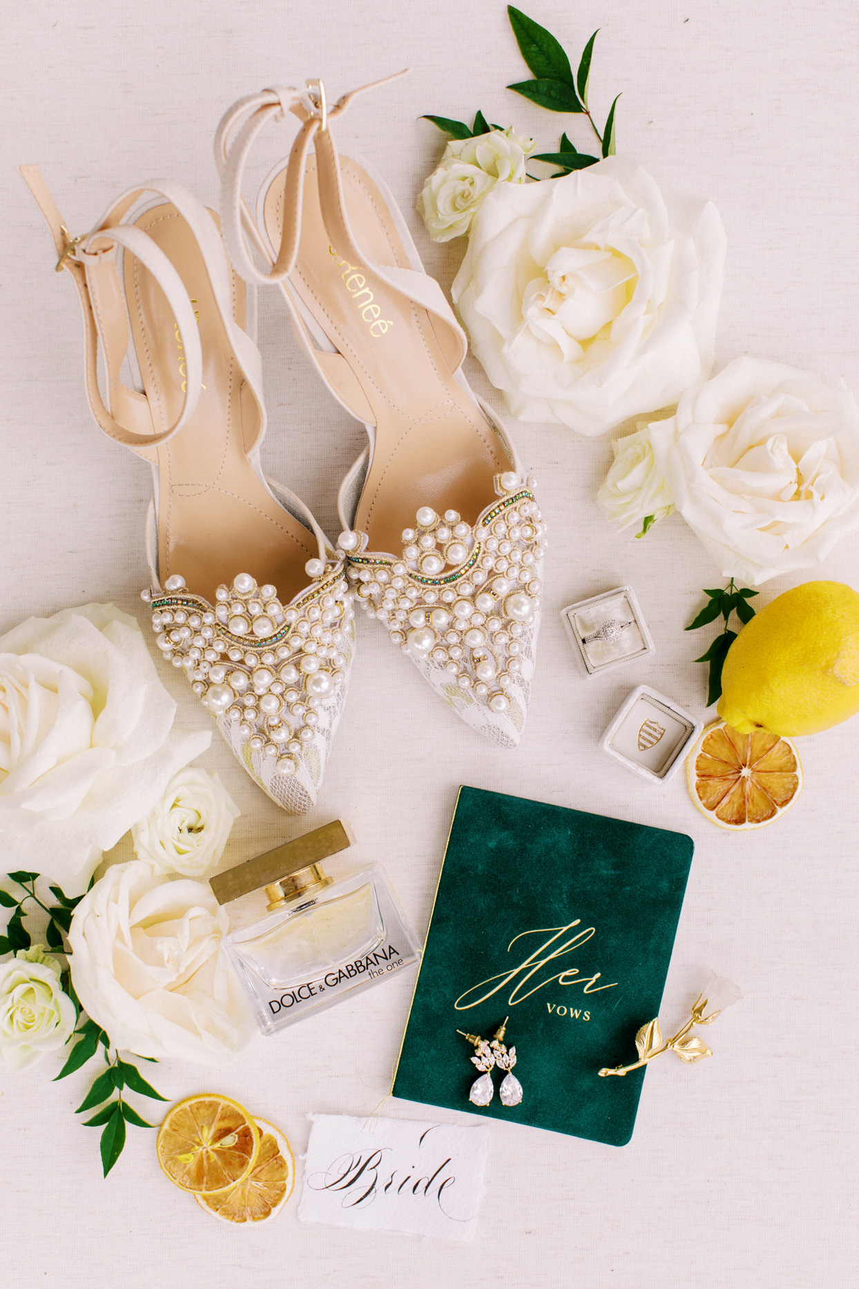 pearl detailed heels and jewelry