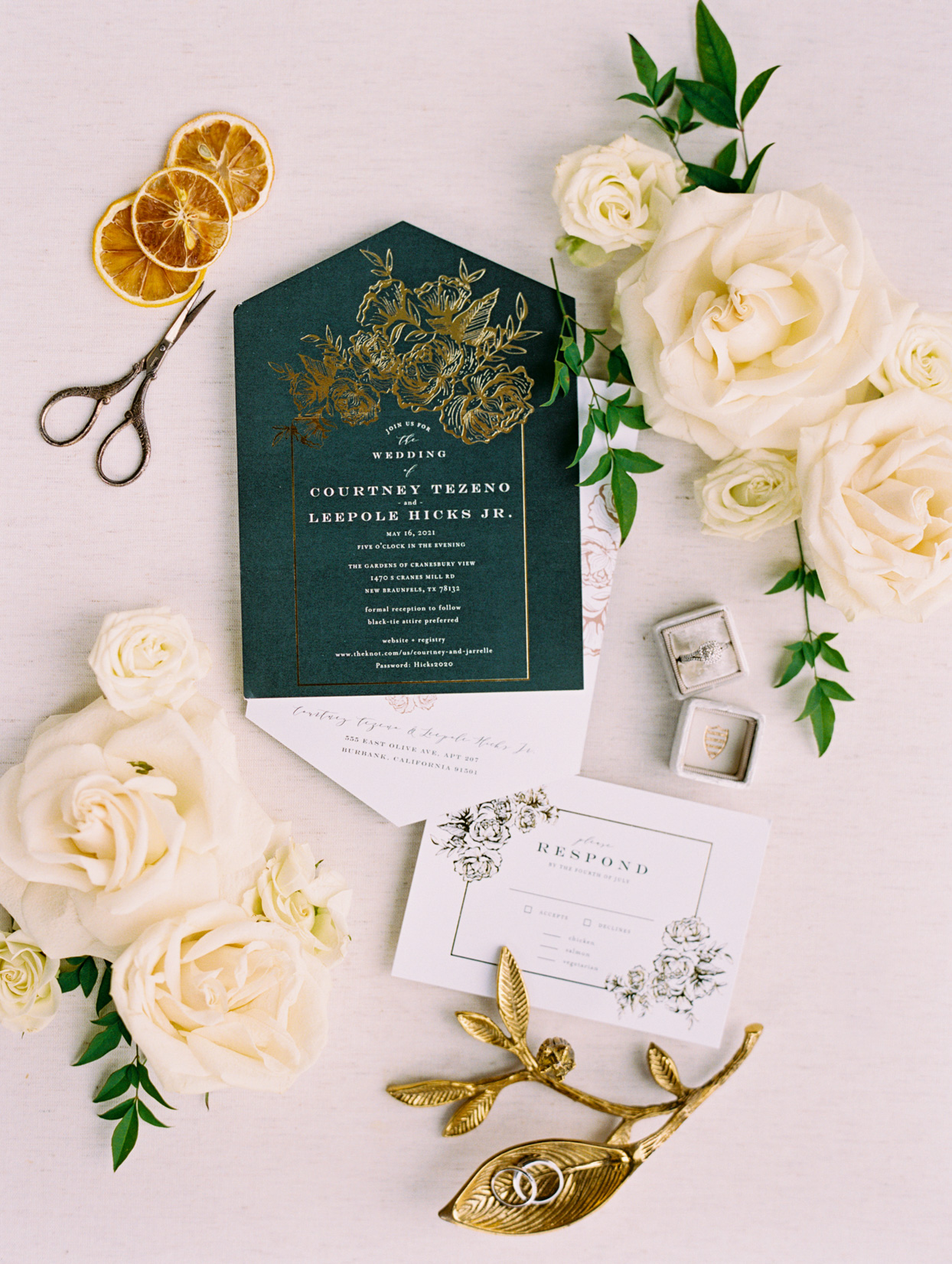 green and gold wedding invitation suite