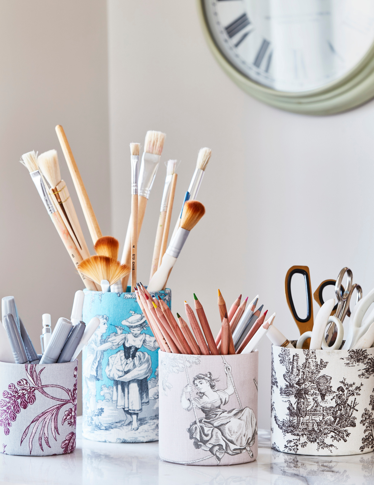 French-toile fabric covered containers