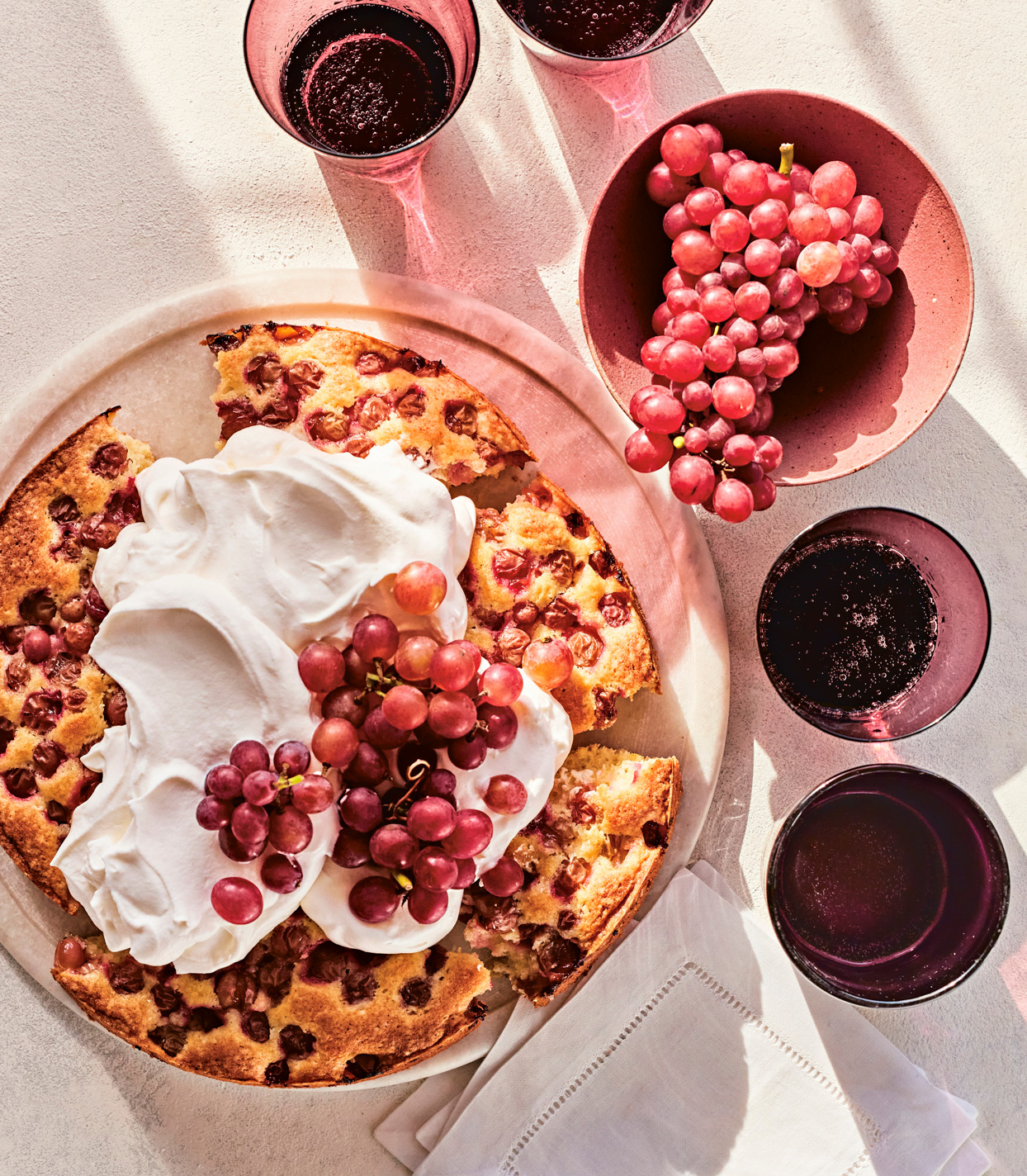 Red-Grape Cake with Whipped Creme Fraiche