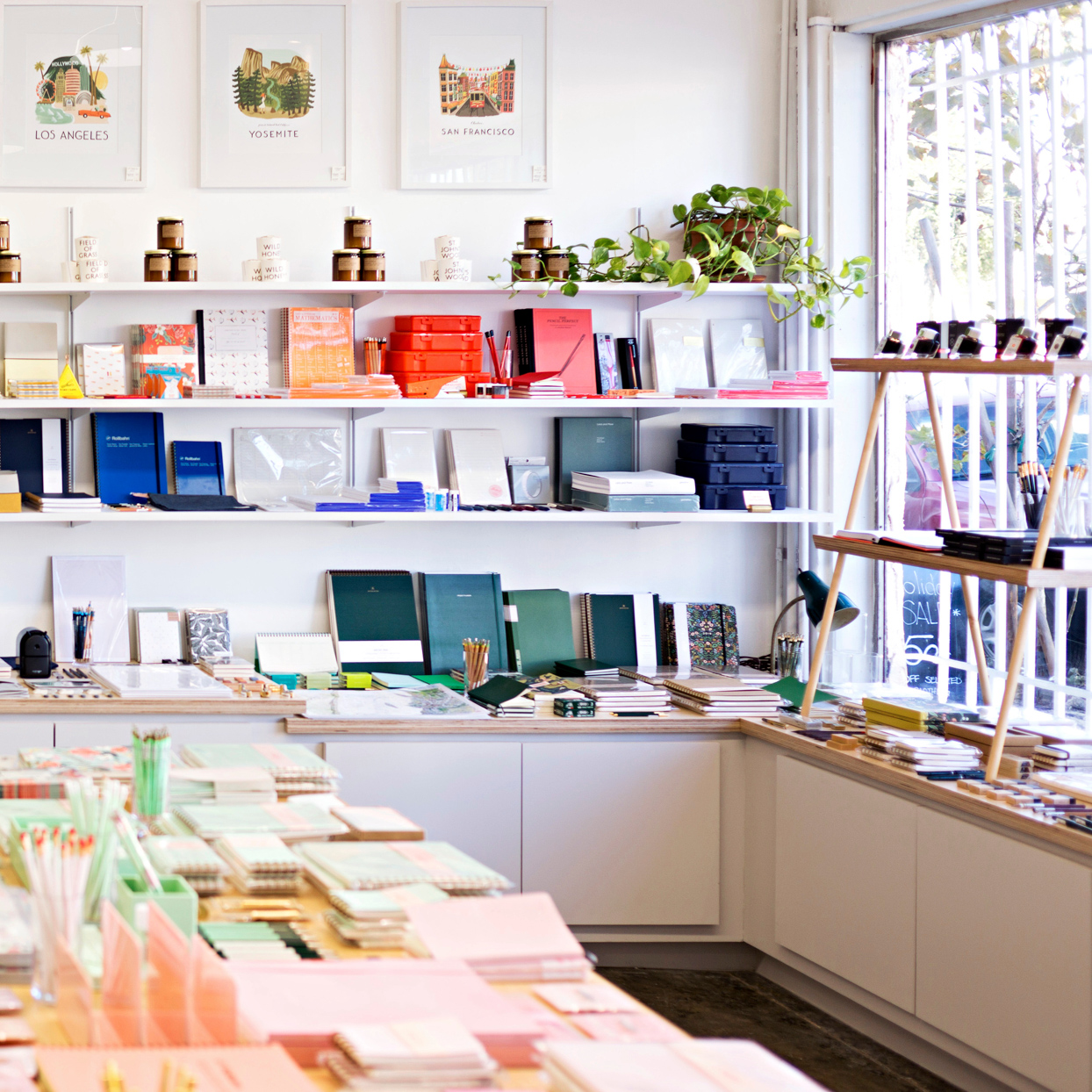 Shorthand stationery shop with colorful paper products