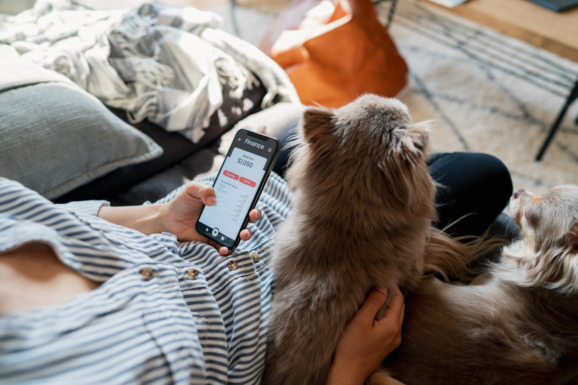 Woman checking a finance app whilst relaxing with her dogs at home