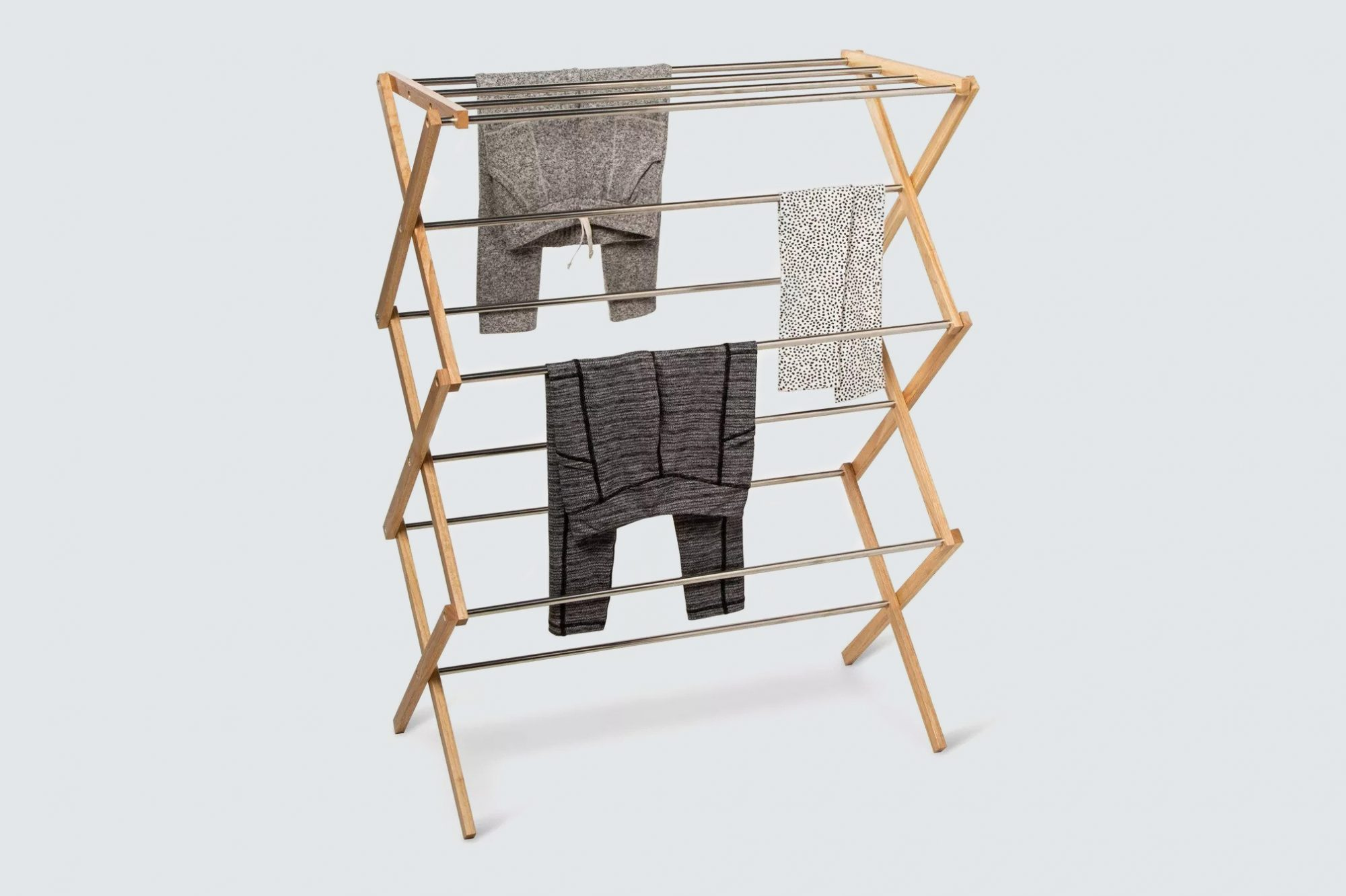 Room Essentials Rubber Wood and Stainless Steel Drying Rack