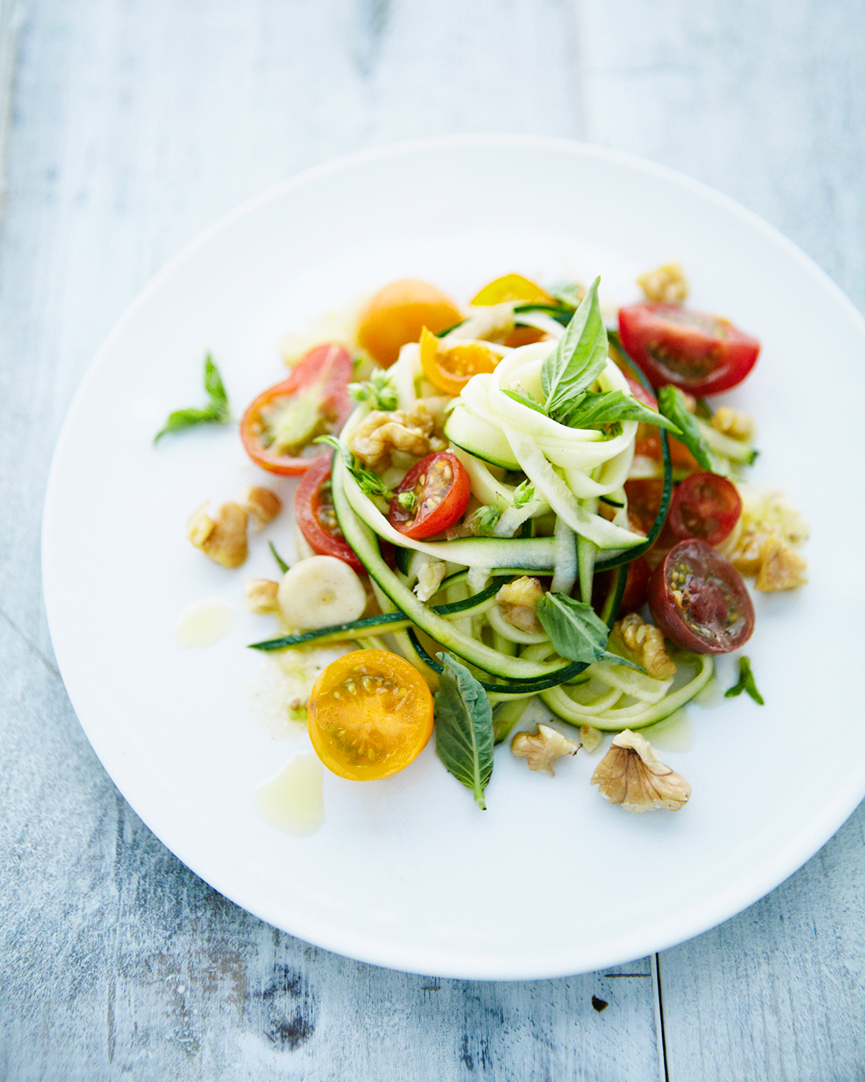 Zucchini Pasta with Tomatoes and Walnuts