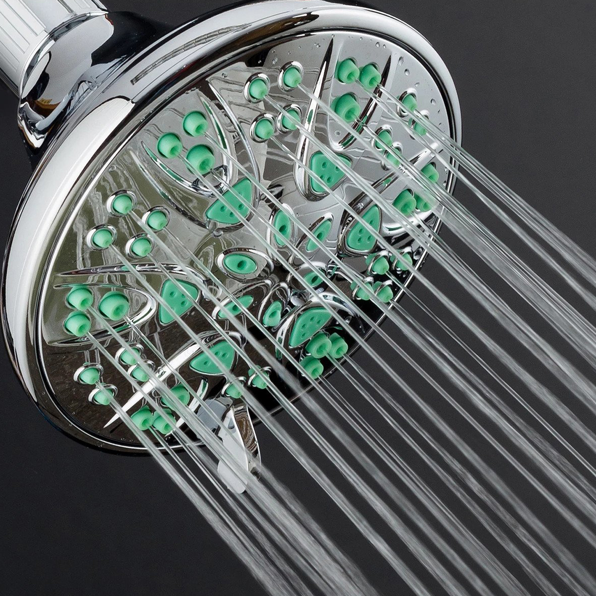Aquadance Antimicrobial Shower Head with Coral Green Jets